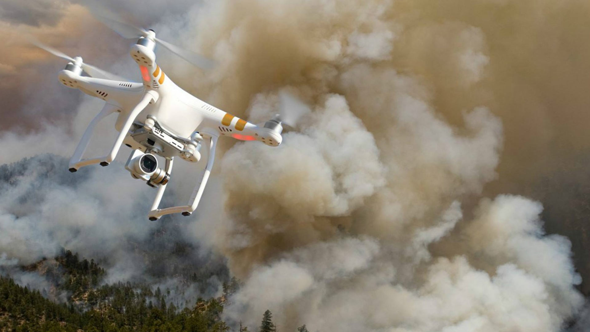 A drone flying near a wildfire.