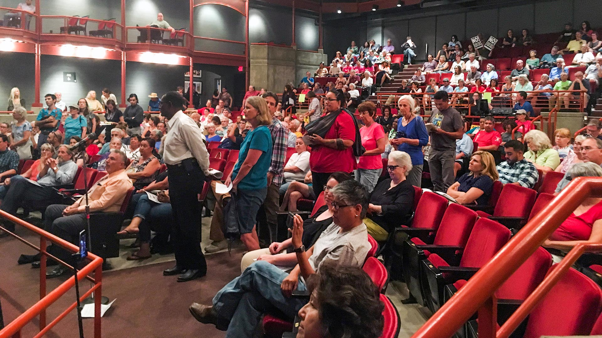 People wait in line to speak about the congressional efforts to repeal and replace the Affordable Care Act, at a town hall hosted by U.S. Rep. Raúl Grijalva, D-Ariz.