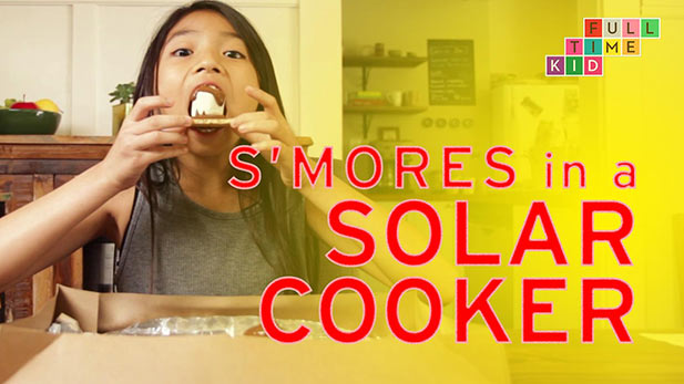 Making smores in a solar cooker.