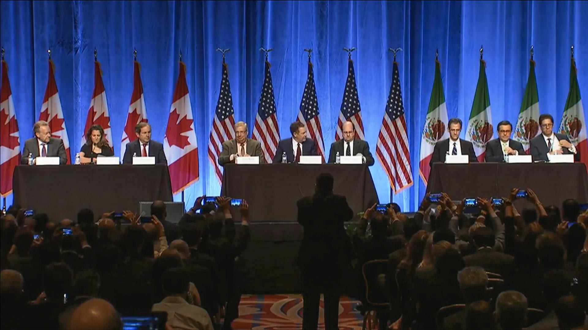 Members of the NAFTA negotiating teams from the U.S., Canada and Mexico, Aug. 16, 2017
