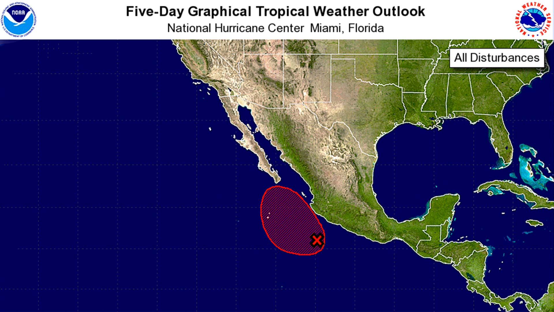 The five-day outlook shows a strong chance that a cyclone will form of the Baja Peninsula by the end of the week, possibly bringing storms to Southern Arizona.