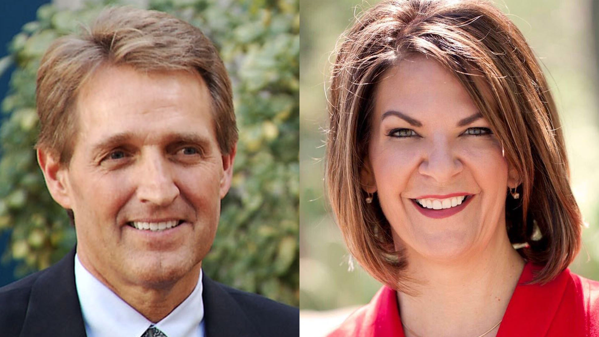 U.S. Sen. Jeff Flake and Kelli Ward, a Republican challenger for his seat.