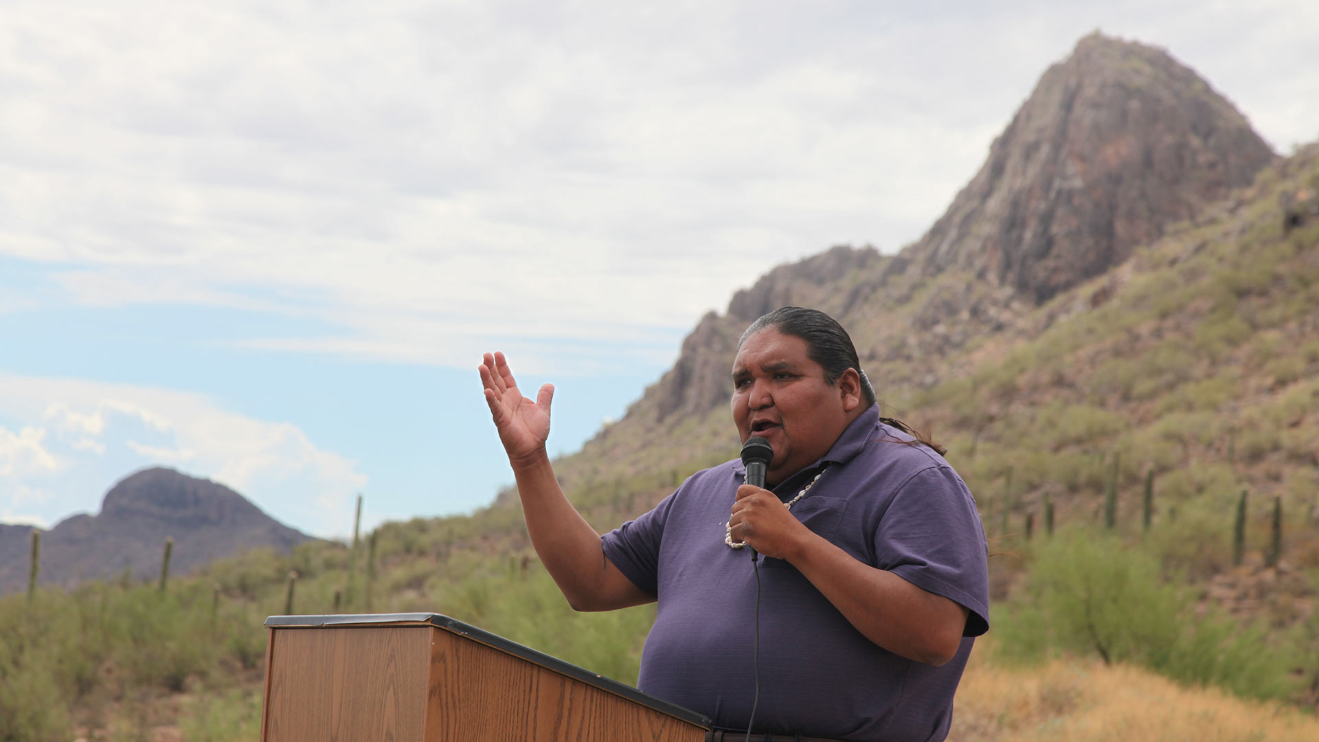 "Tohono O'odham Nation Vice Chair Verlon Jose spoke Aug. 2 about the obligation to protect national monuments like Ironwood Forest, which he says provide education that can't be found ""in a classroom."""