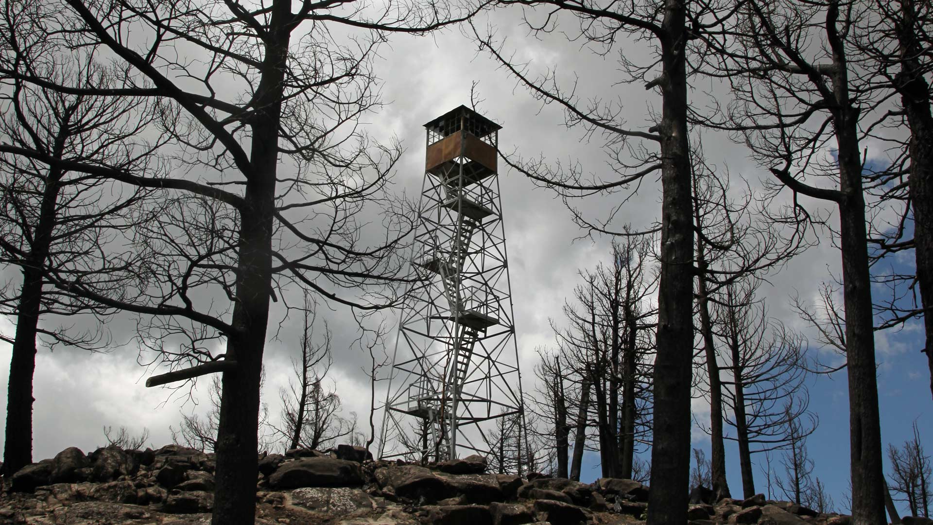 A fire tower burned by the Frye Fire in 2017.