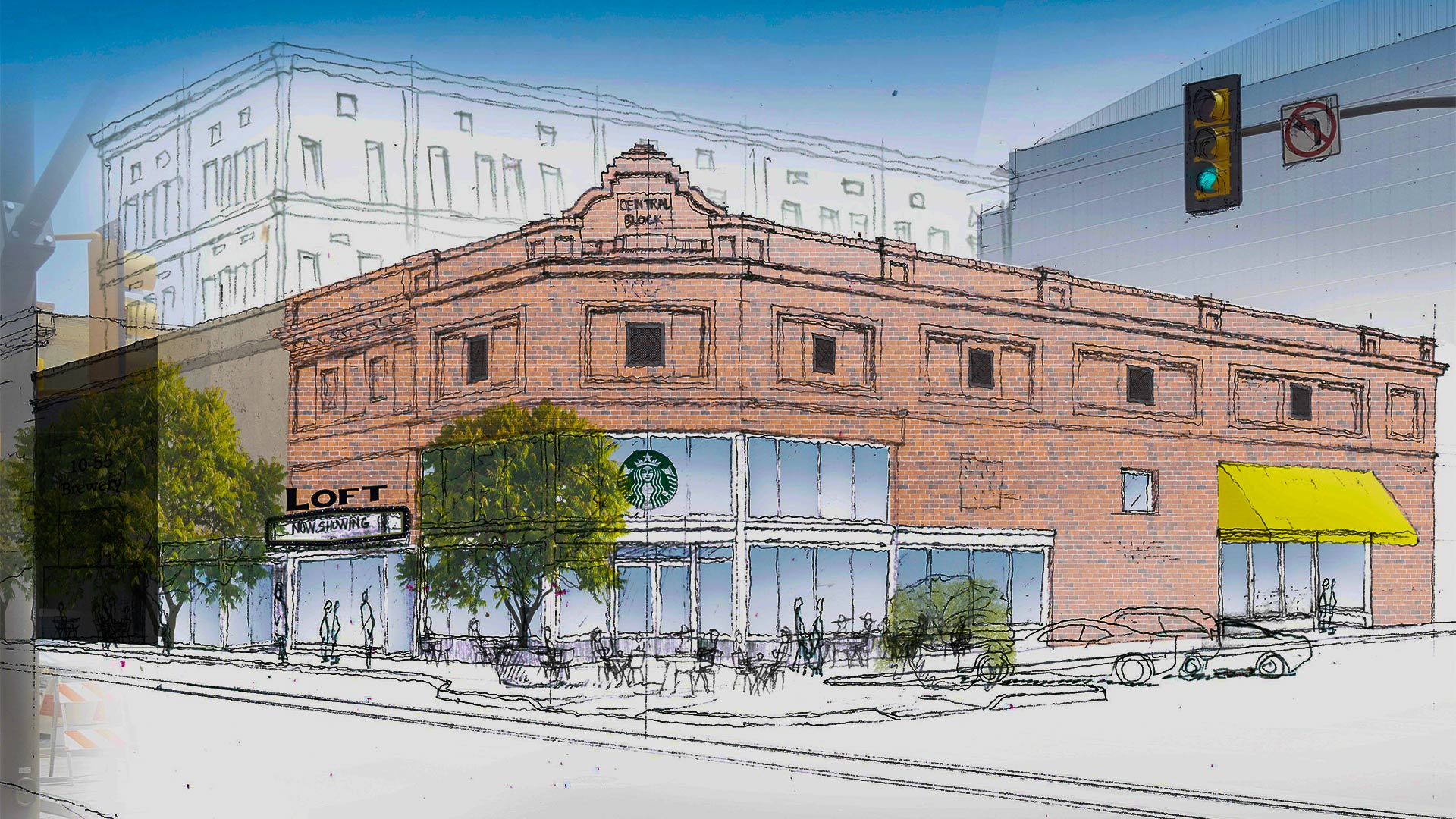 An illustration of possible changes coming to the building that housed Wig-O-Rama.