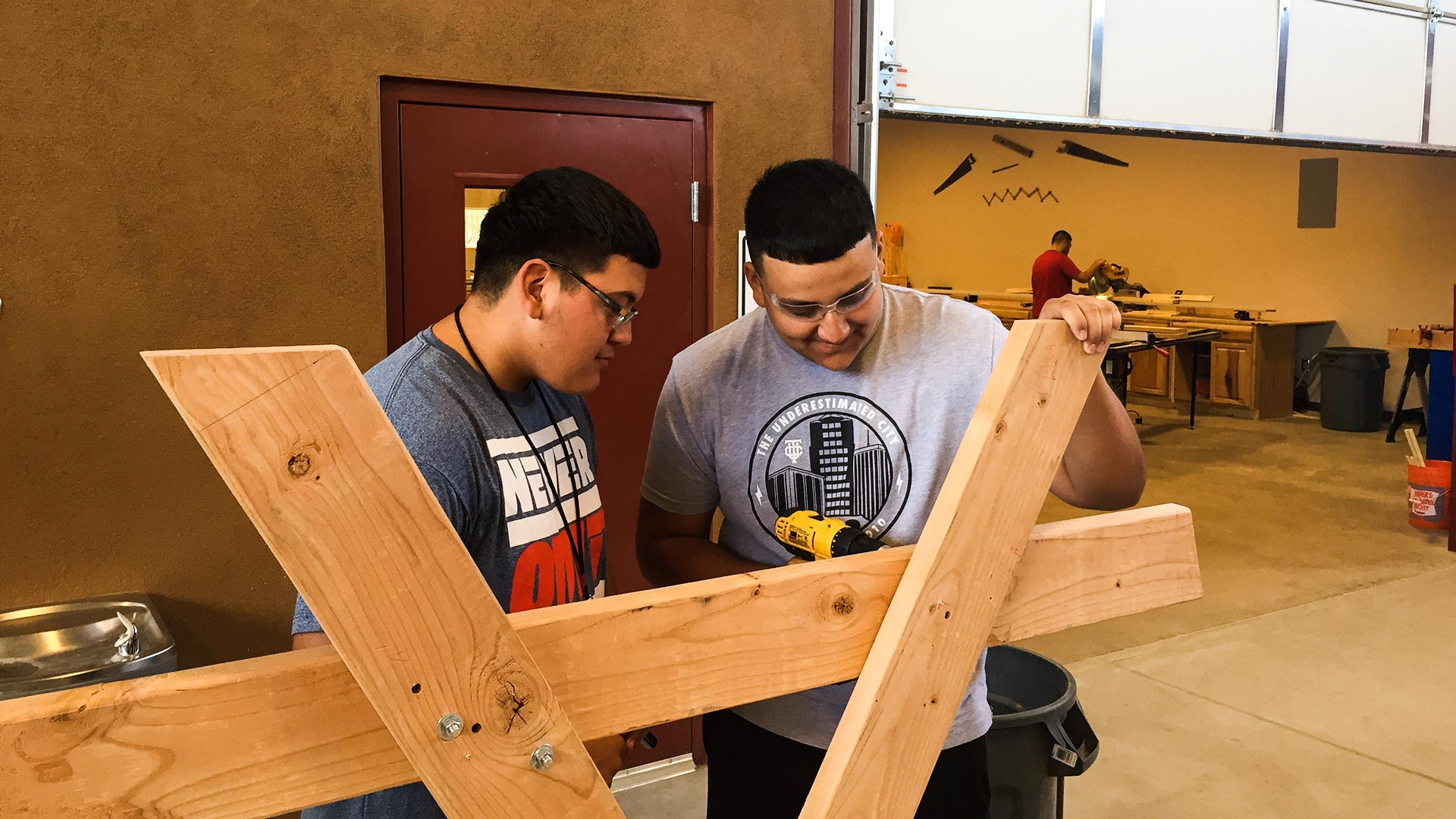 Students in Jim Luckow's class at Pima JTED Star Campus learn skills to be carpenters, masons, plumber and electricians.