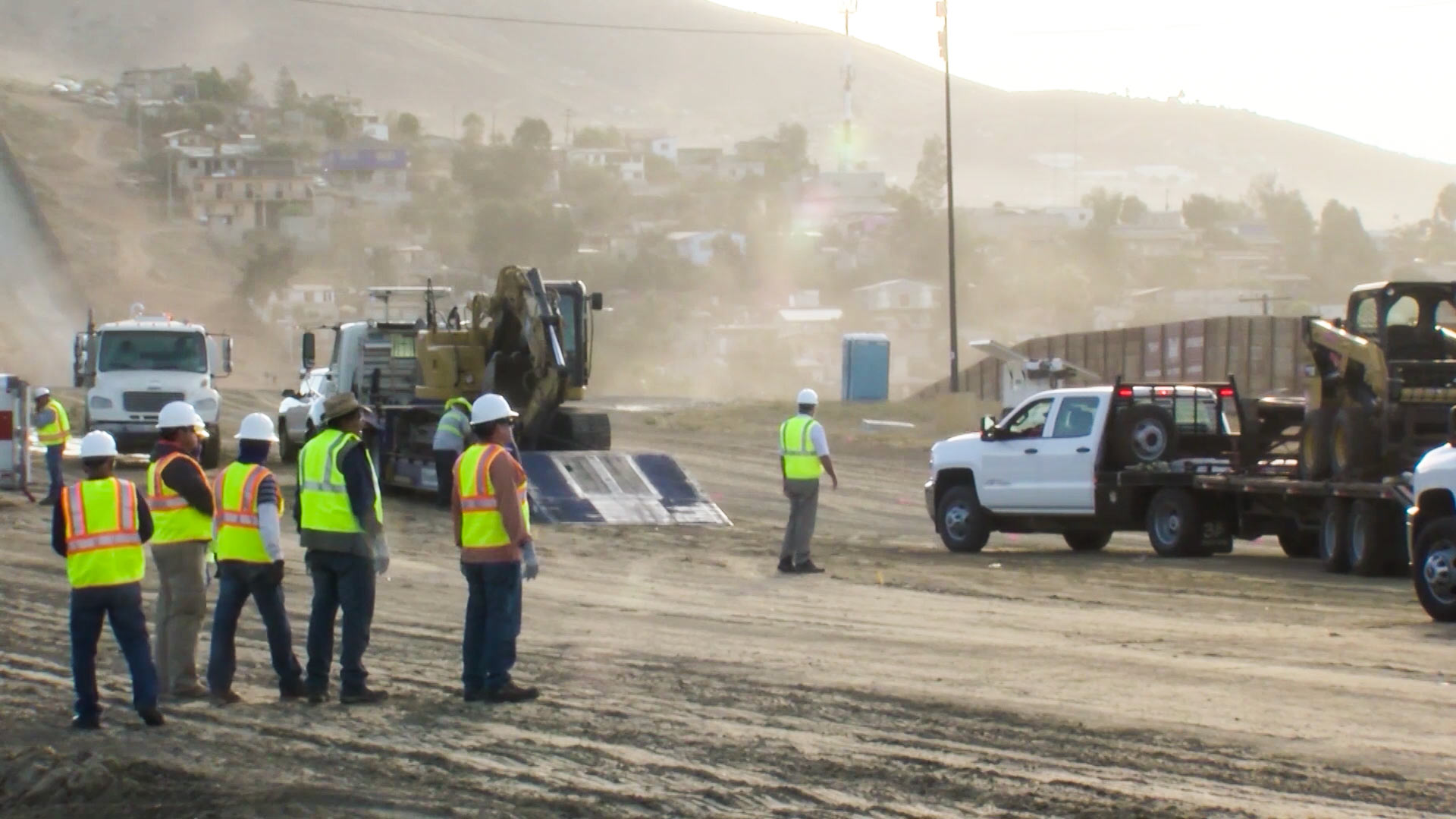 Still image from a video released by the public relations department of Customs and Border Protection showing the start to construction of border wall prototypes.