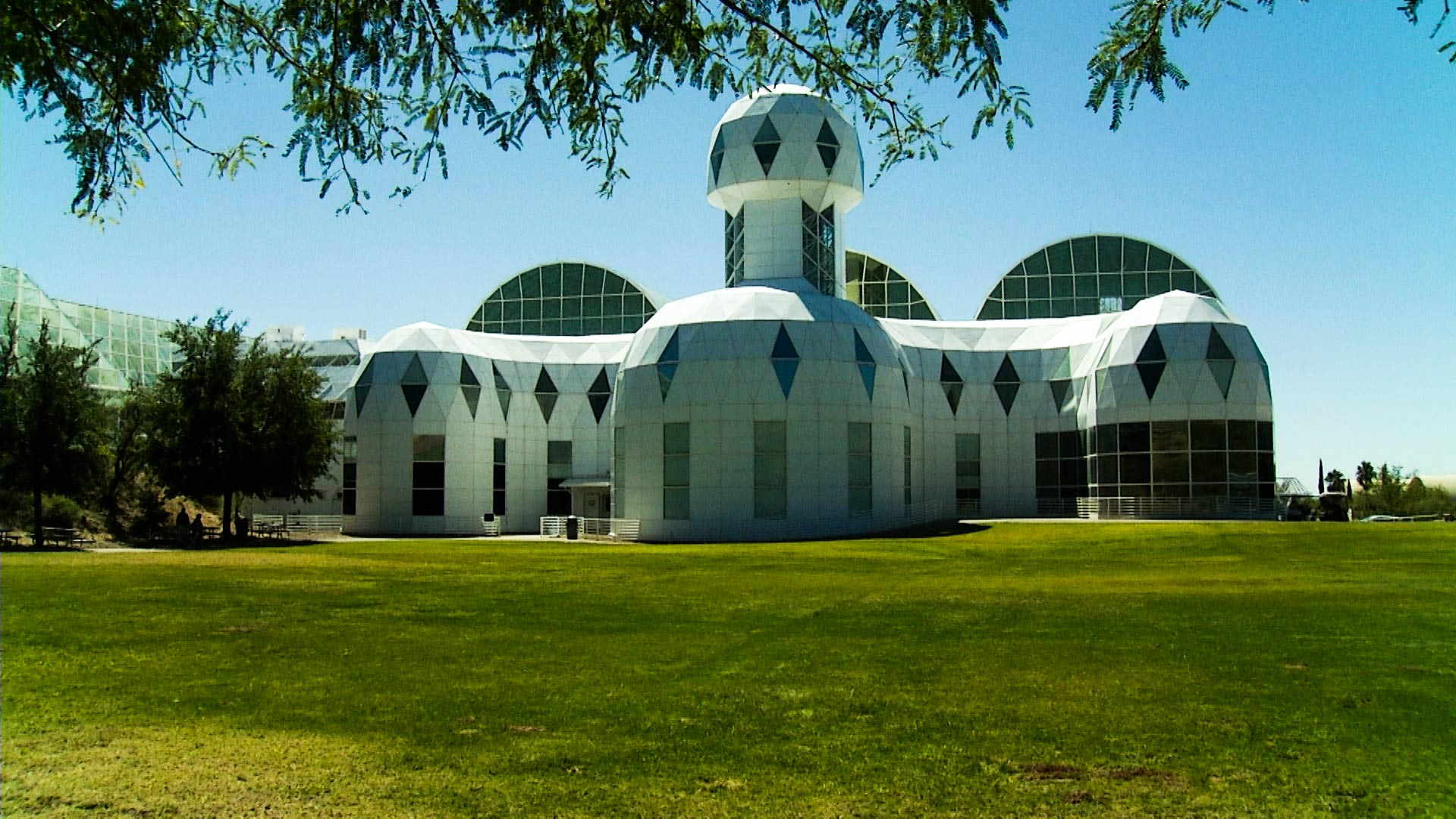 The exterior of the Biosphere 2 facility.