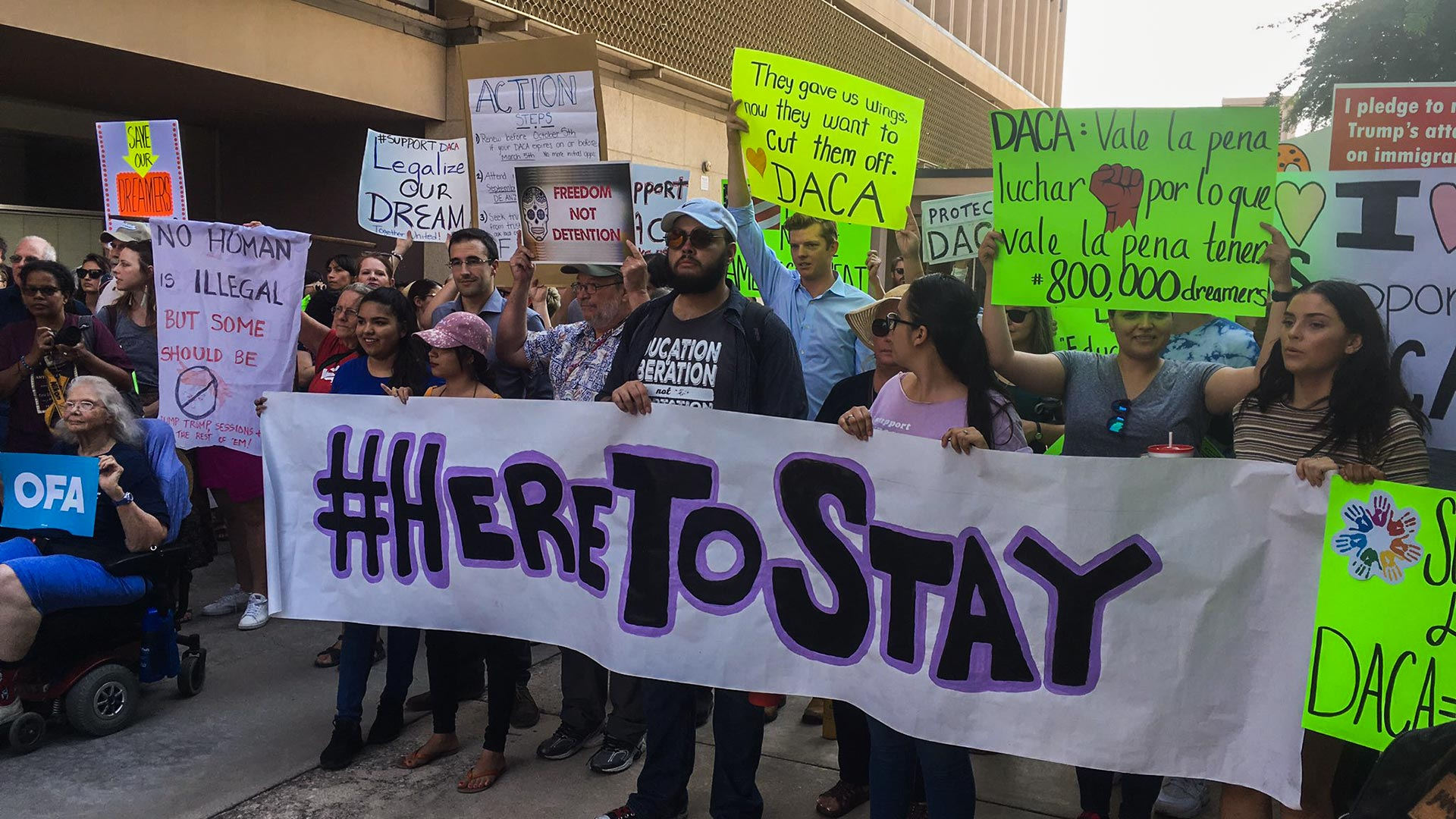 A rally at Tucson City Hall in support of the Deferred Action for Childhood Arrivals program, Sept. 5, 2017.