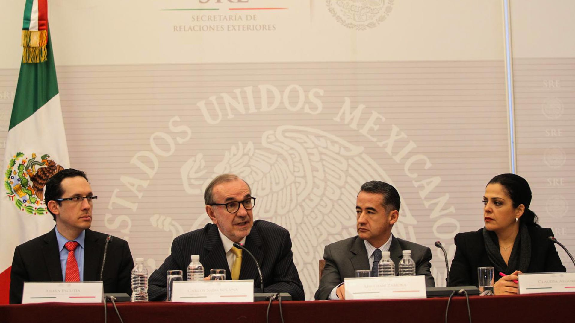 From left, Julian Escutia, chief adviser to the Mexican foreign relations undersecretary for North America; Carlos Sada, undersecretary for North America; Abraham Sonora, chief of staff for the secretary; and Claudia Algorri, spokeswoman.