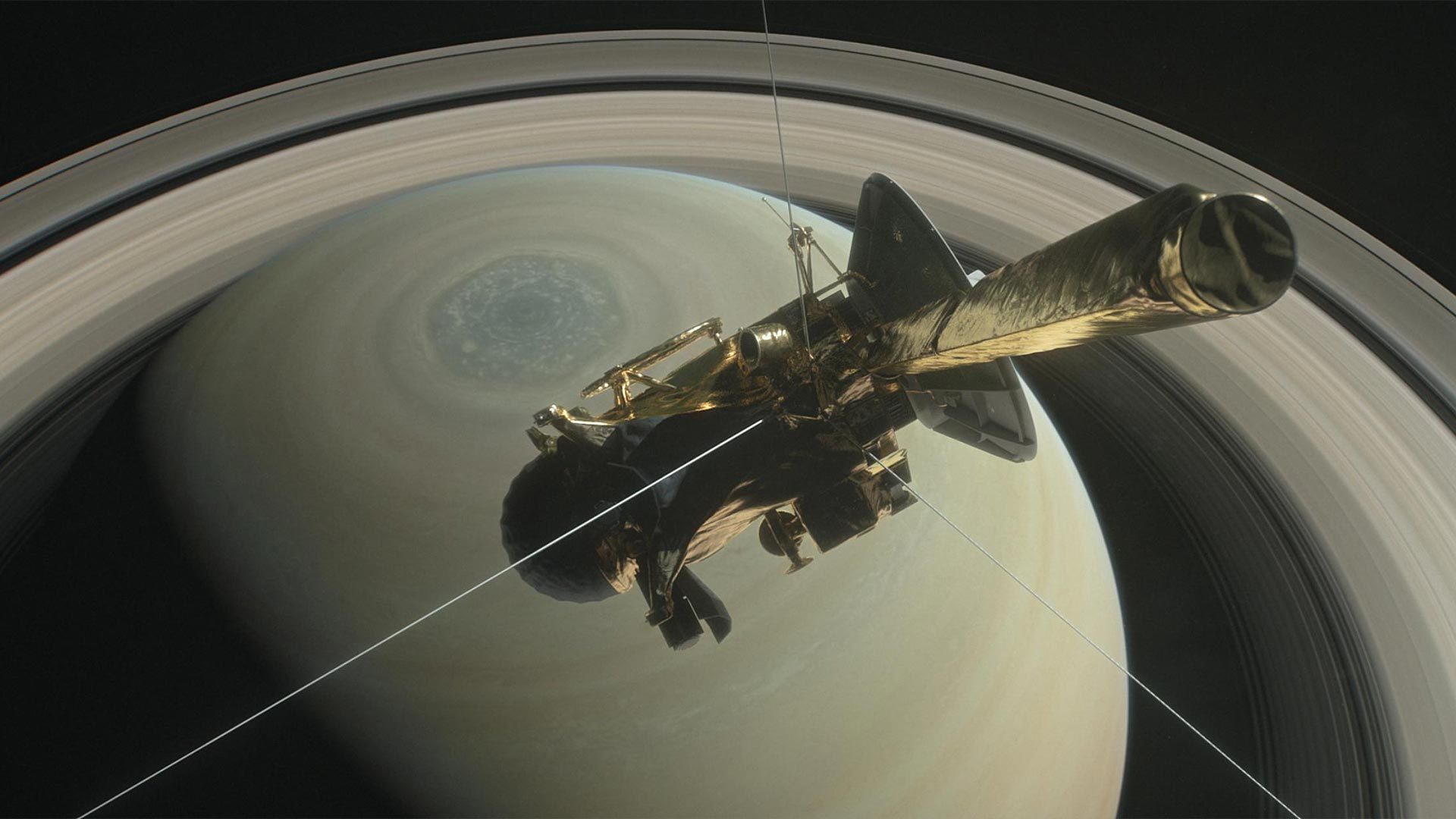 NASA's Cassini above Saturn's northern pole, ready to dive into Saturn's rings