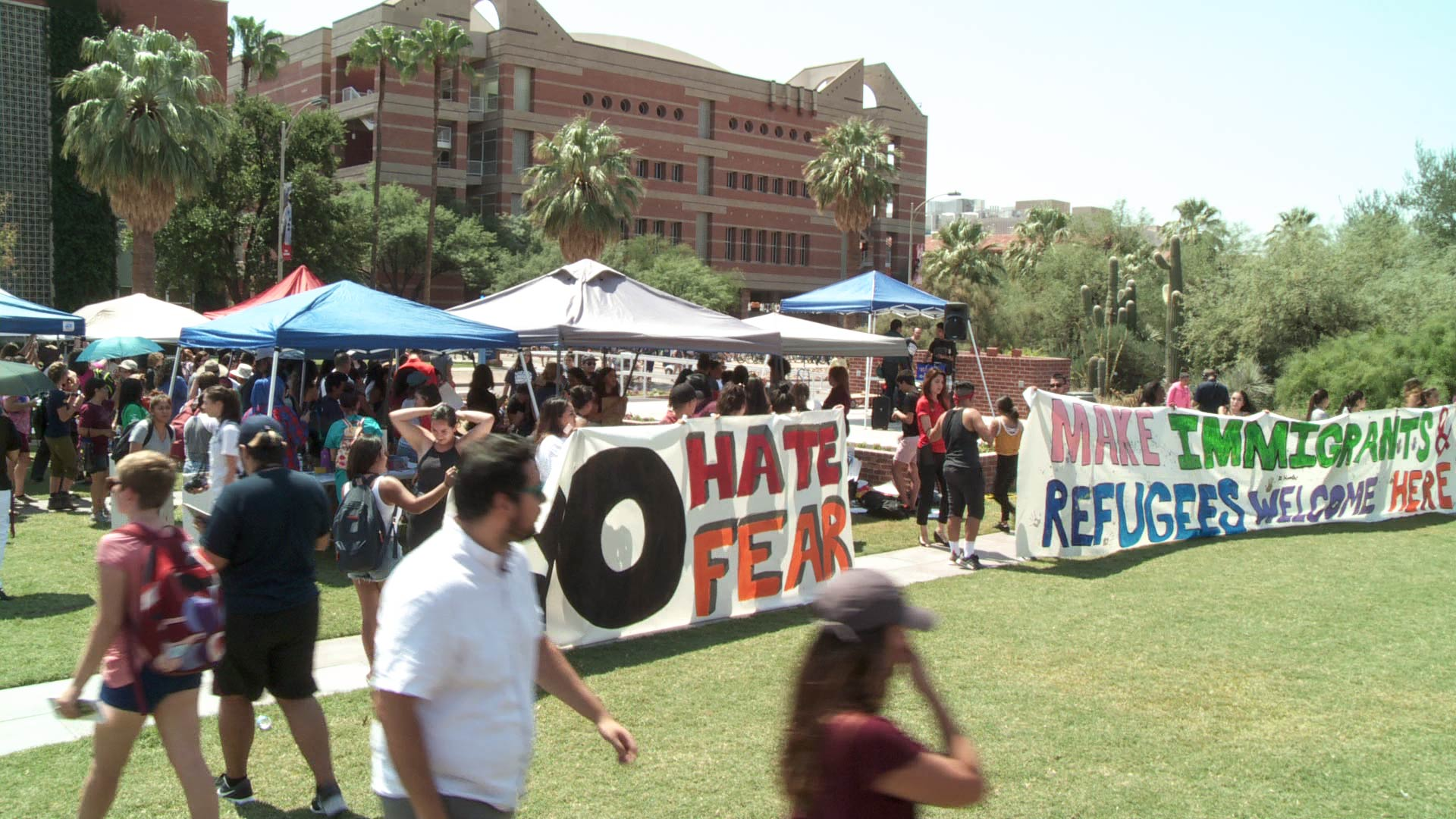 Students protest the DACA decision on the University of Arizona campus mall.