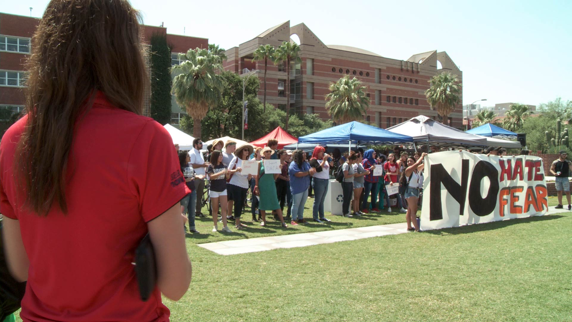 Students on the University of Arizona campus protest the announcement in September 2017 that DACA would be phased out.