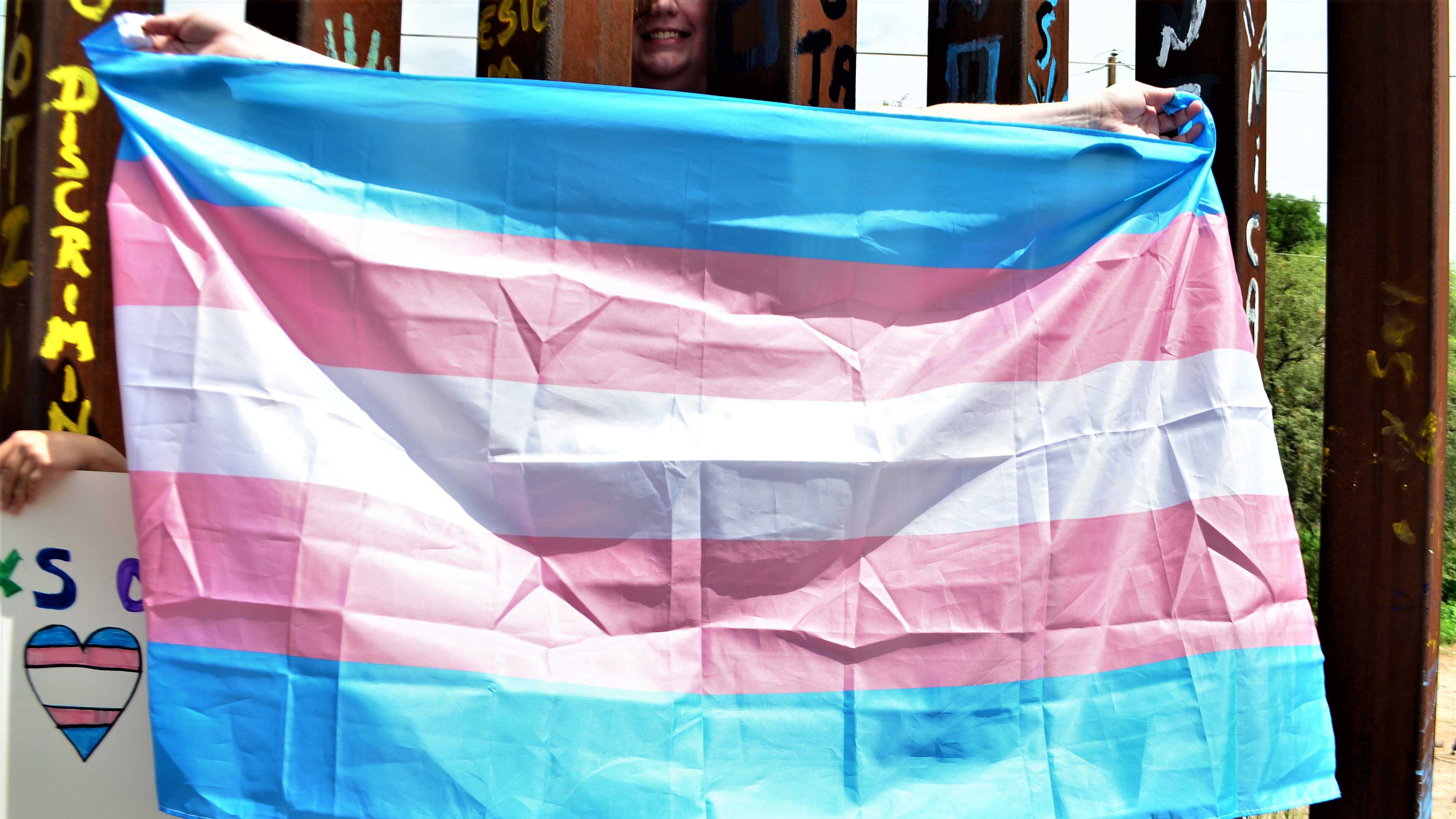 transgender flag at border spotlight