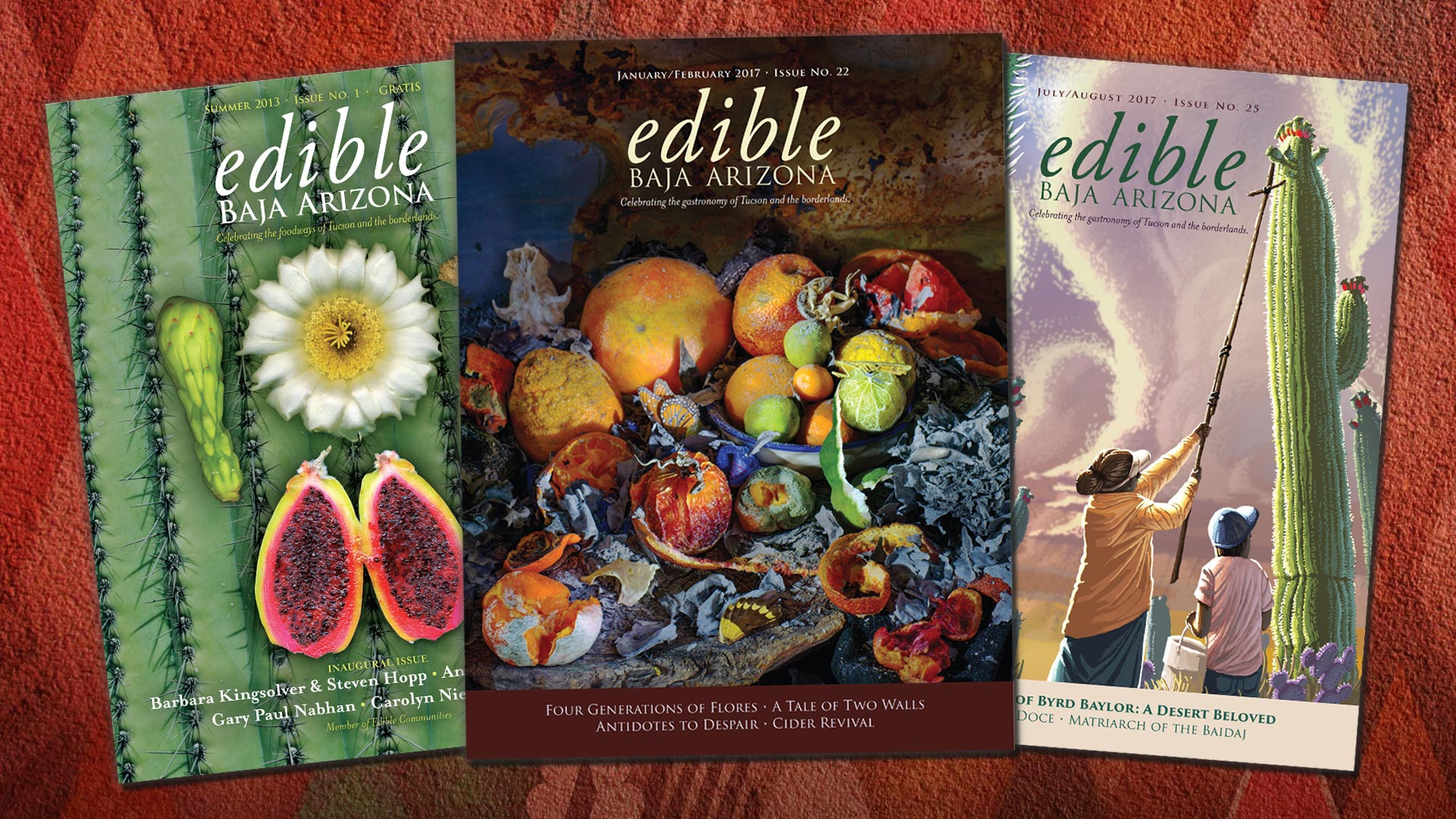 Three covers from Edible Baja Arizona magazine.