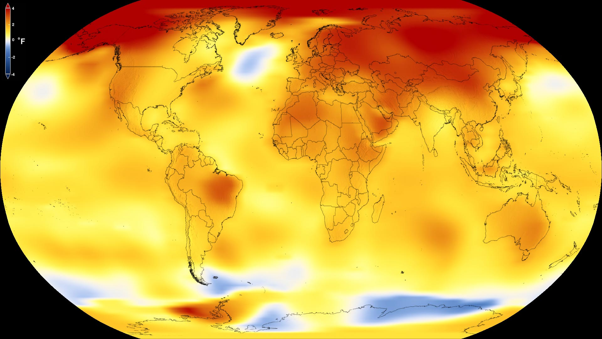 This map shows Earth's average global temperature from 2013 to 2017, as compared to a baseline average from 1951 to 1980, according to an analysis by NASA's Goddard Institute for Space Studies. Yellows, oranges and reds show regions warmer than the baseline.