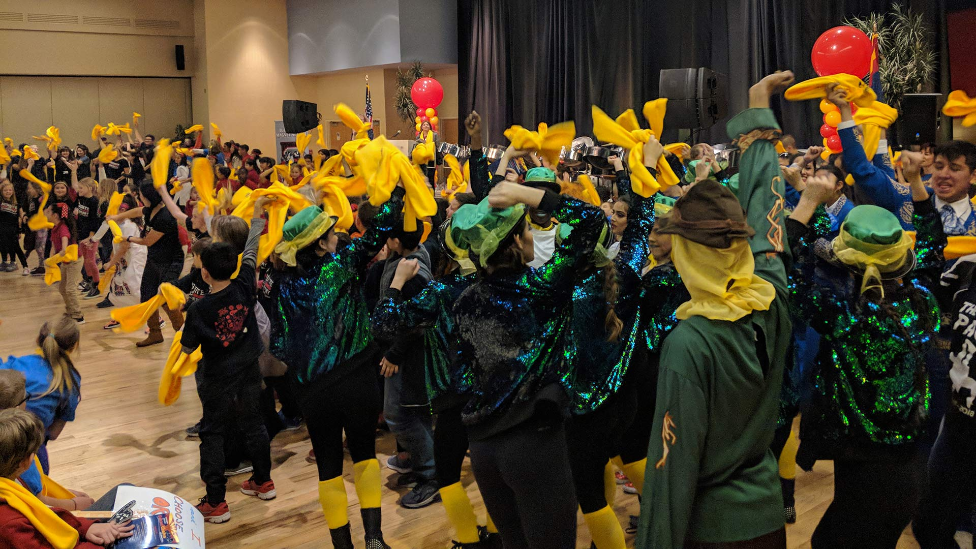Students dance to wrap up a Jan. 23 event in Tucson celebrating National School Choice Week 2018.