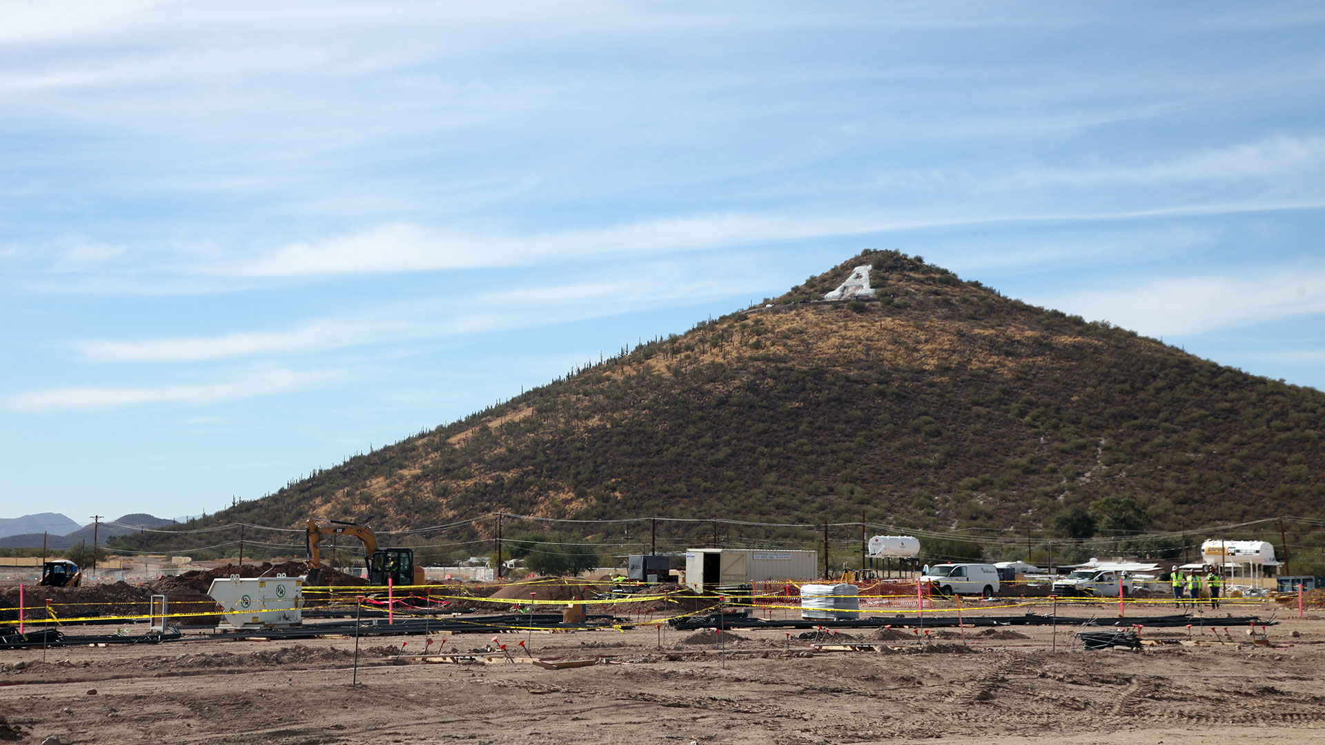 Construction near the base of 'A Mountain.'