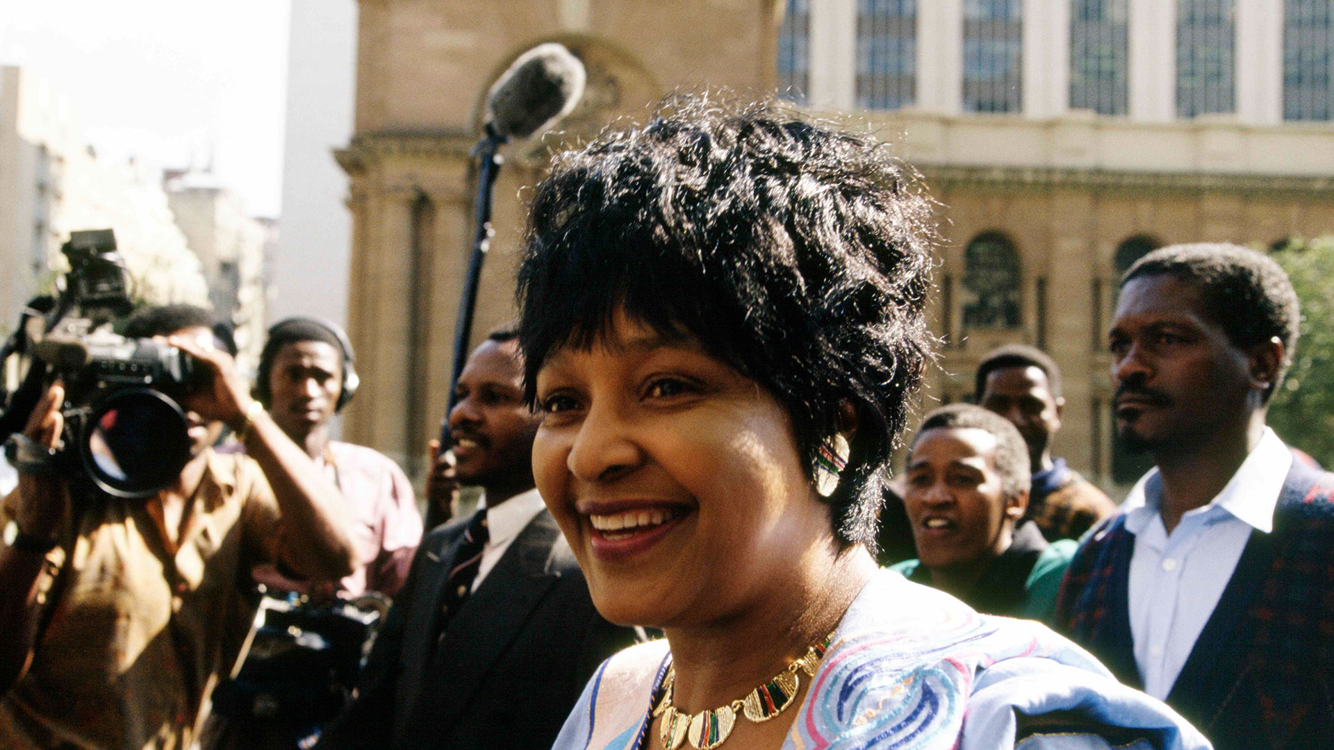 Winnie Mandela during her trial in Johannesburg for the murder of child activist Stompie Sepei (1992).