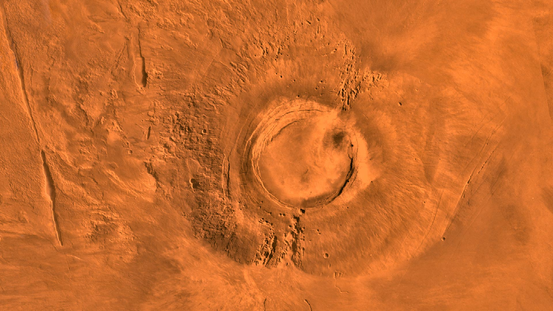 A digital-image mosaic shows the extinct volcano Arsia Mons on Mars.