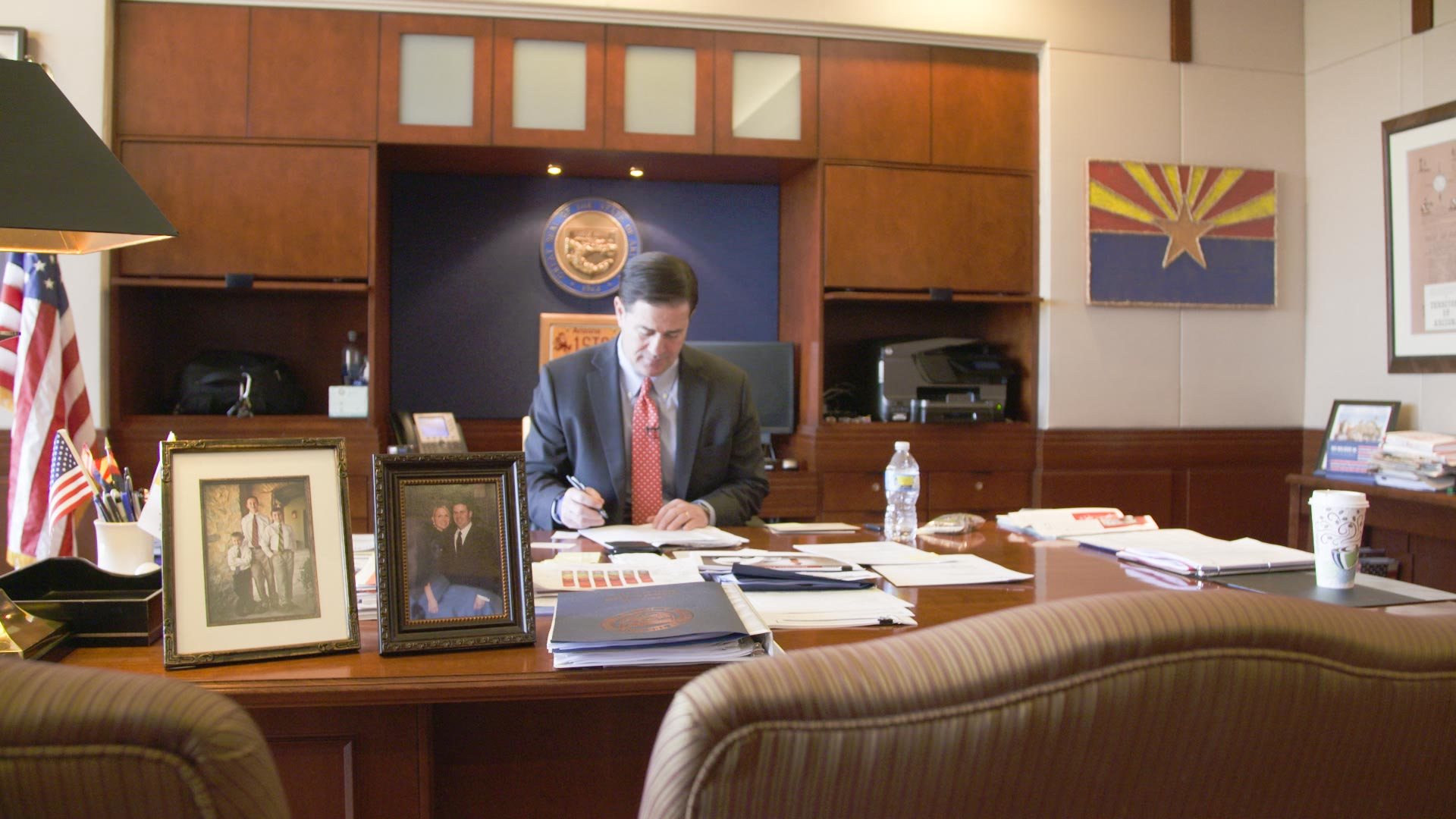 Gov. Doug Ducey at his desk in Phoenix, December 2017.