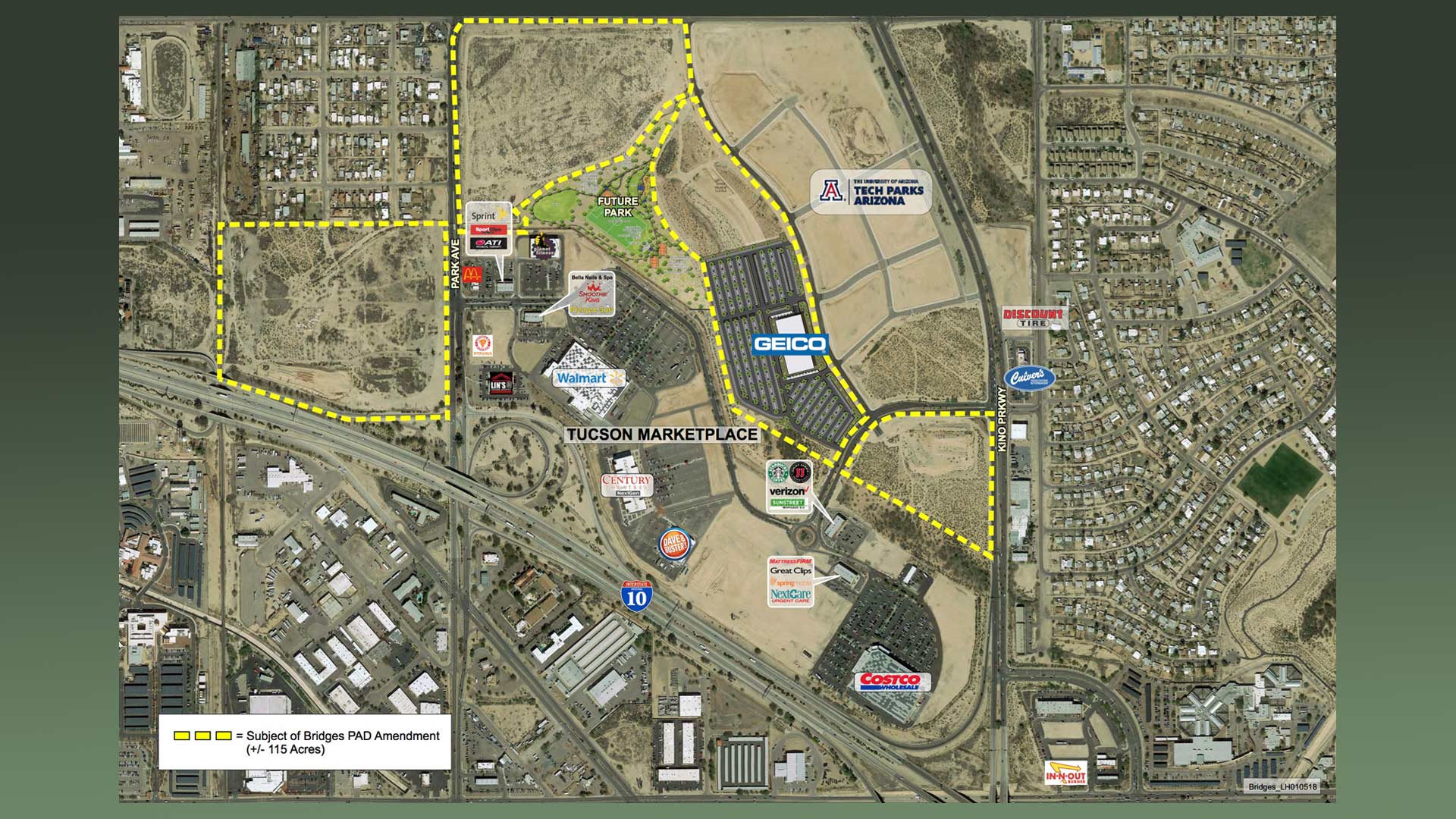 "Plans for a new GEICO location at the south-side development area known as ""The Bridges."""