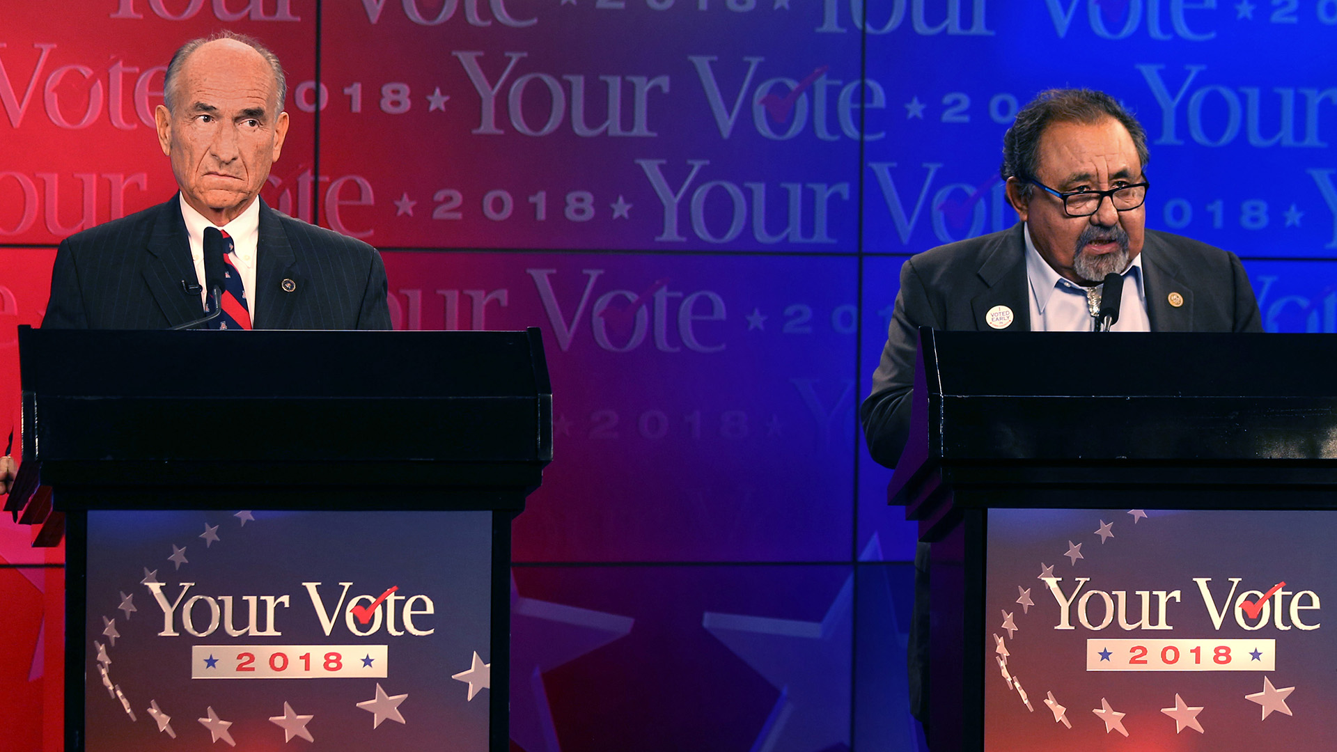 Challenger Rep. Nicolas Pierson and incumbent Dem. Raul Grijalva await the start of their televised debate in the Congressional District 3 race, Wednesday, October 17, 2018, Tucson, Ariz.