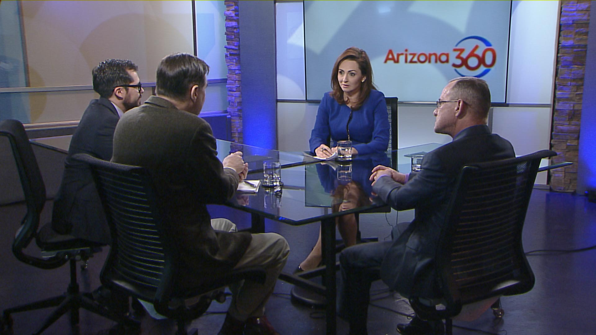 Lorraine Rivera joined by (from left to right) Arizona Daily Star editorial writer Luis Carrasco, Tucson Sentinel publisher Dylan Smith and 1030 KVOI contributor Jim Kelley at Arizona Public Media.