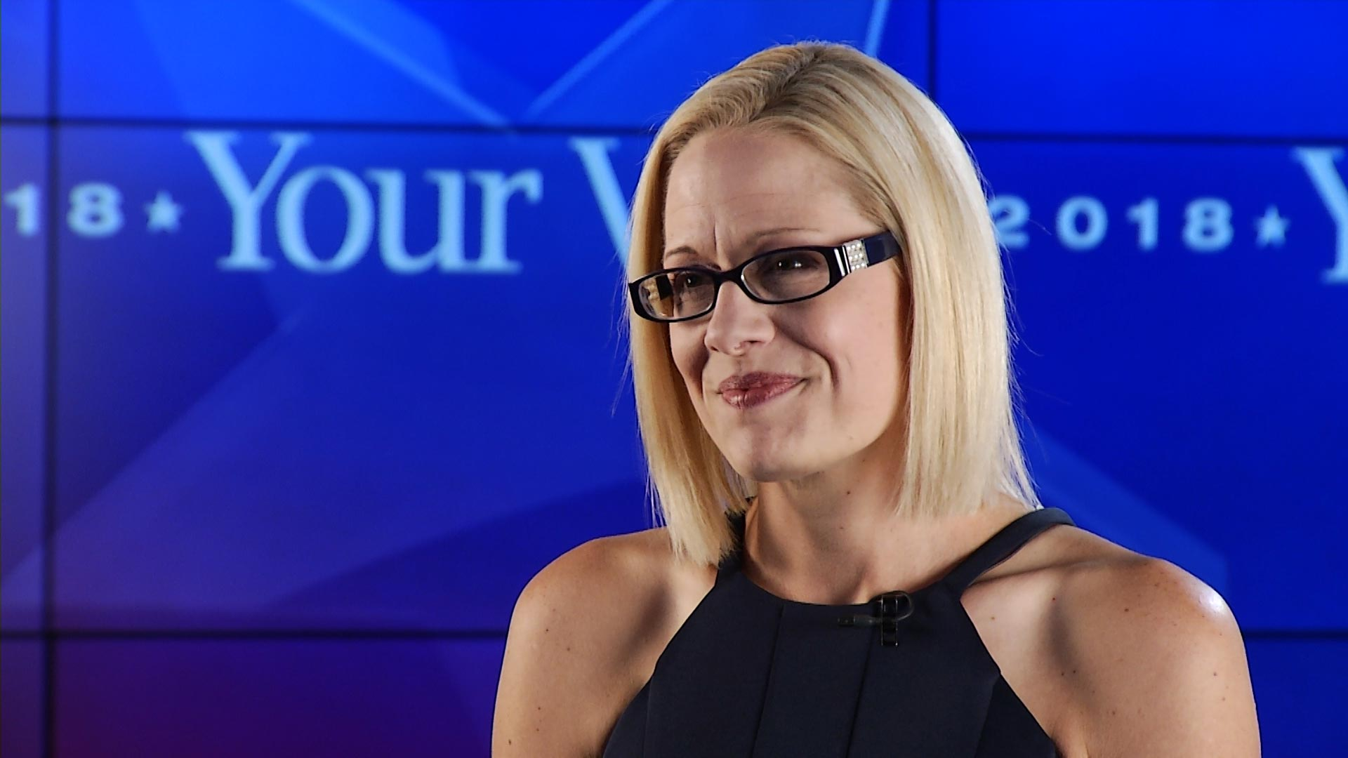 Democratic Representative Kyrsten Sinema during an interview at Arizona Public Media about her run for U.S. Senate.