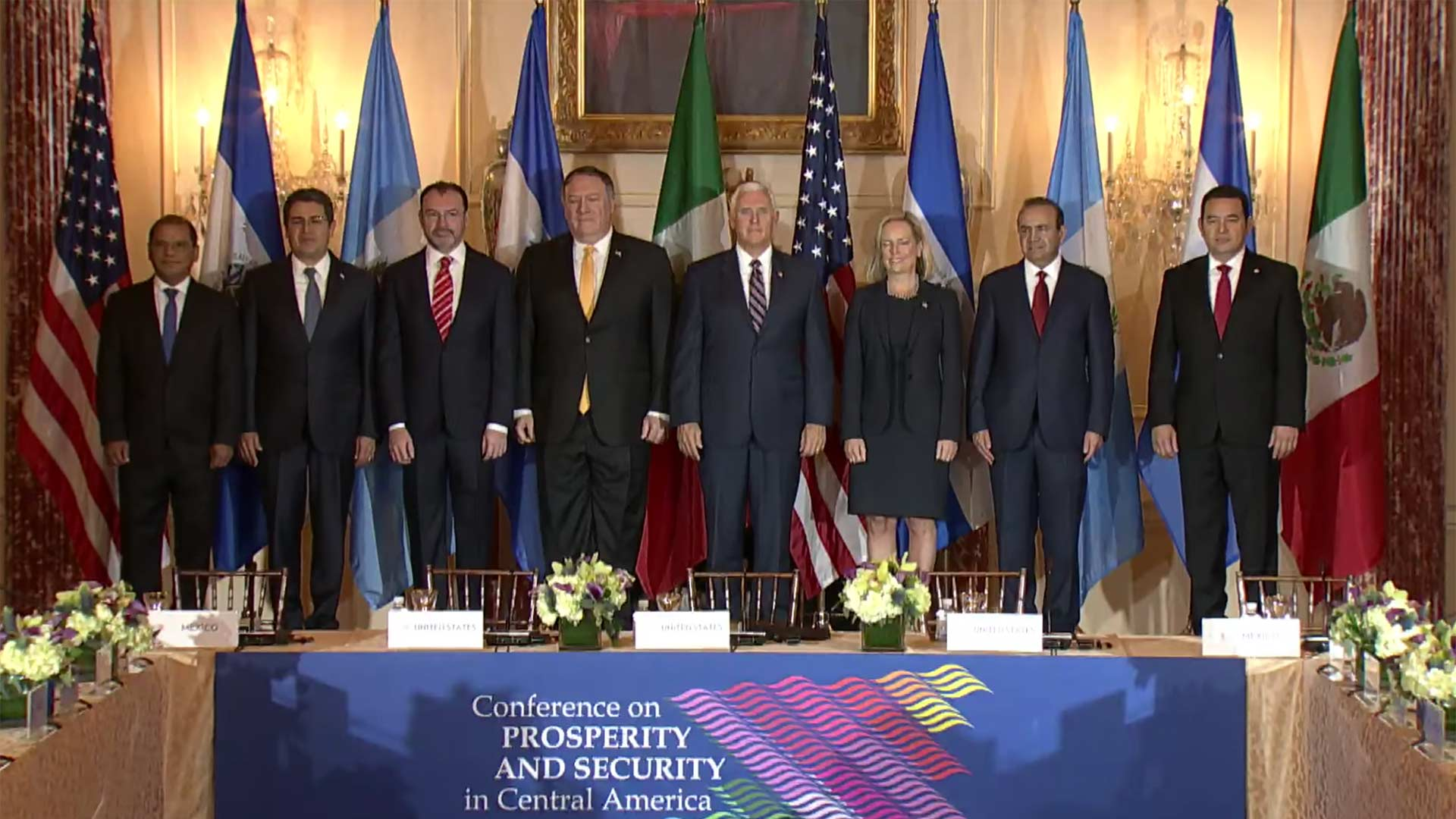 Still image from a Department of State video including Vice President Mike Pence, Secretary of State Michael Pompeo, and Secretary of Homeland Security Kirstjen Nielsen, with leaders from Mexico, Honduras, Guatemala, and El Salvador at the second Conference for Prosperity and Security in Central America, Oct. 11, 2018.