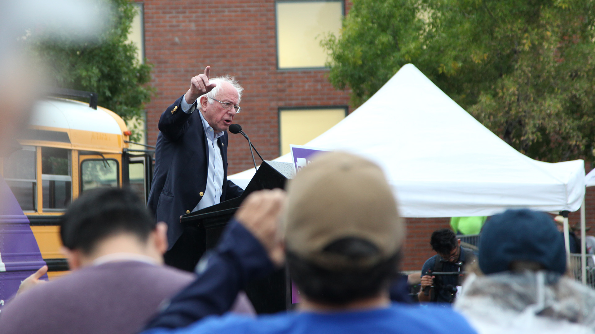 U.S. Sen. Bernie Sanders rallies people on the University of Arizona campus as he campaigns for Democratic candidate for governor, David Garcia, Oct. 23, 2018.