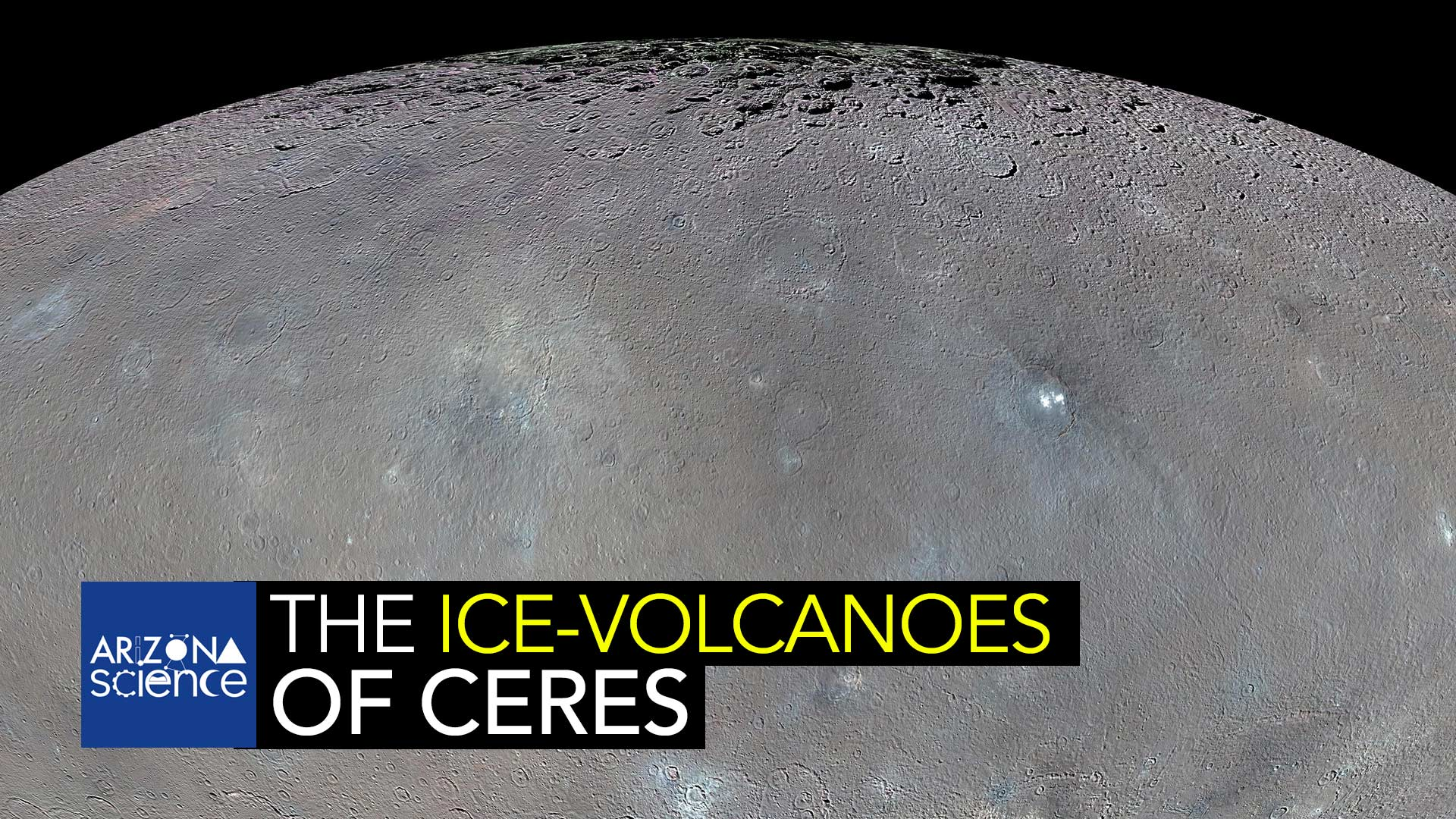 This global map shows the surface of Ceres in enhanced color, encompassing infrared wavelengths beyond human visual range. Images taken using infrared (965 nanometers), green (555 nanometers) and blue (438 nanometers) spectral filters were combined to create this view.