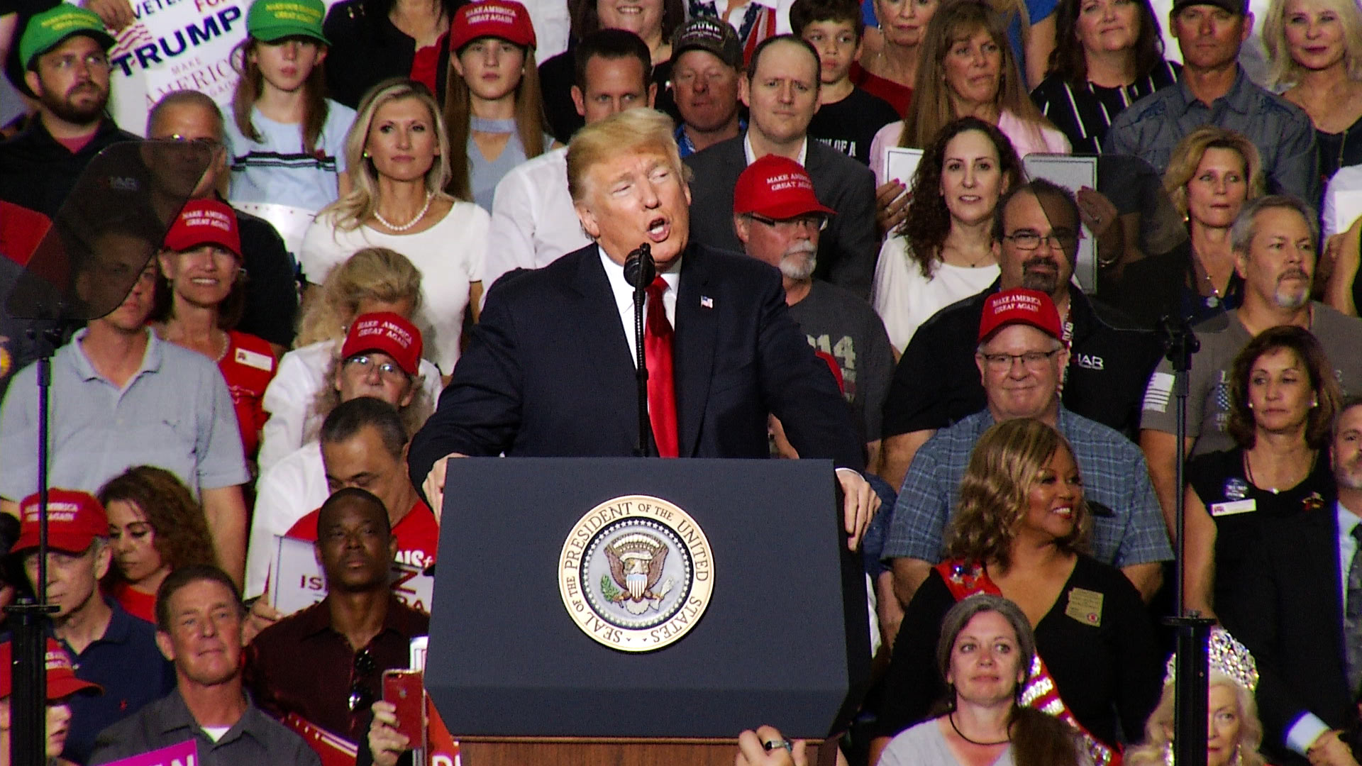 President Donald Trump at a rally in Mesa, Arizona, Oct. 19, 2018.