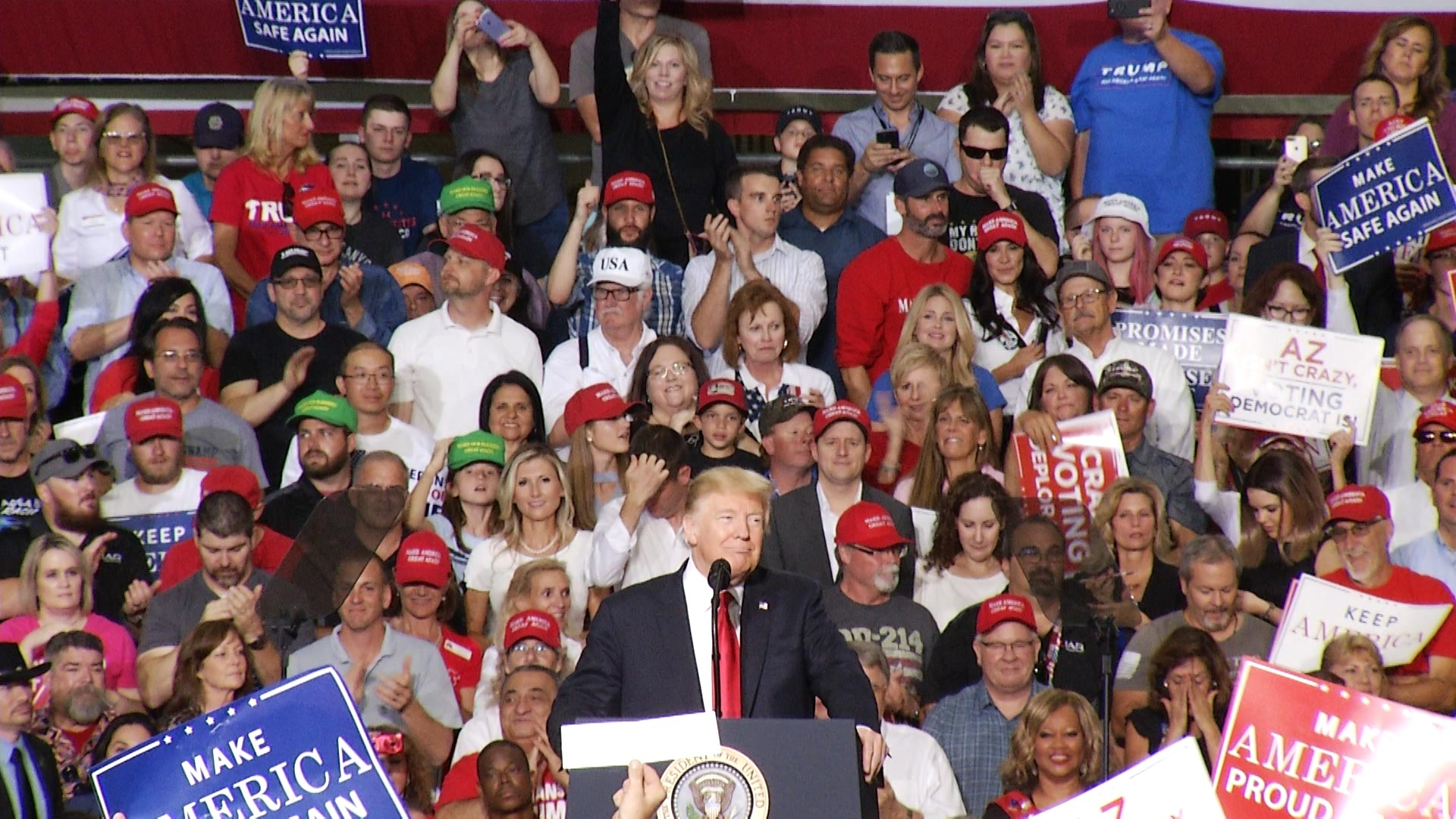 President Donald Trump addresses a crowd at a political rally held at the Phoenix-Mesa Gateway Airport in Mesa on October 19, 2018.