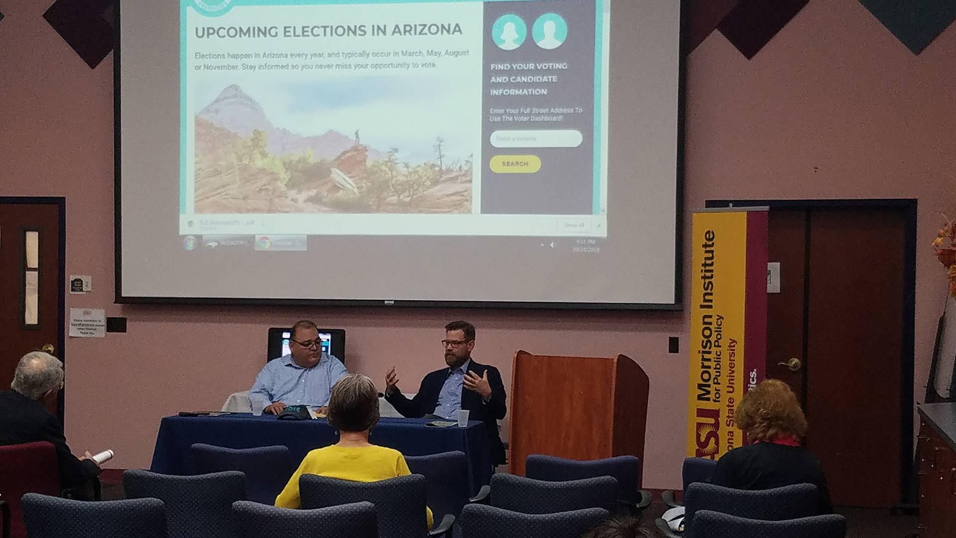 Joseph Garcia of the Morrison Institute, left, and Tom Collins, executive director of the Arizona Citizens Clean Elections Commission