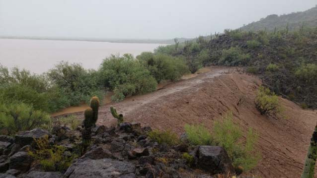 "Photo published on the Tohono O'odham Nation's Facebook page captioned ""Flooding near Menagers Dam Community."""