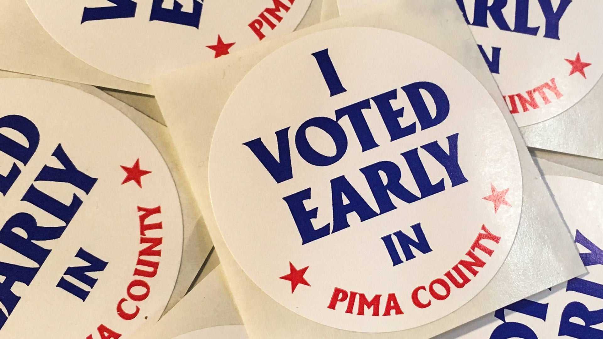 Early-ballot stickers for voters in Pima County.