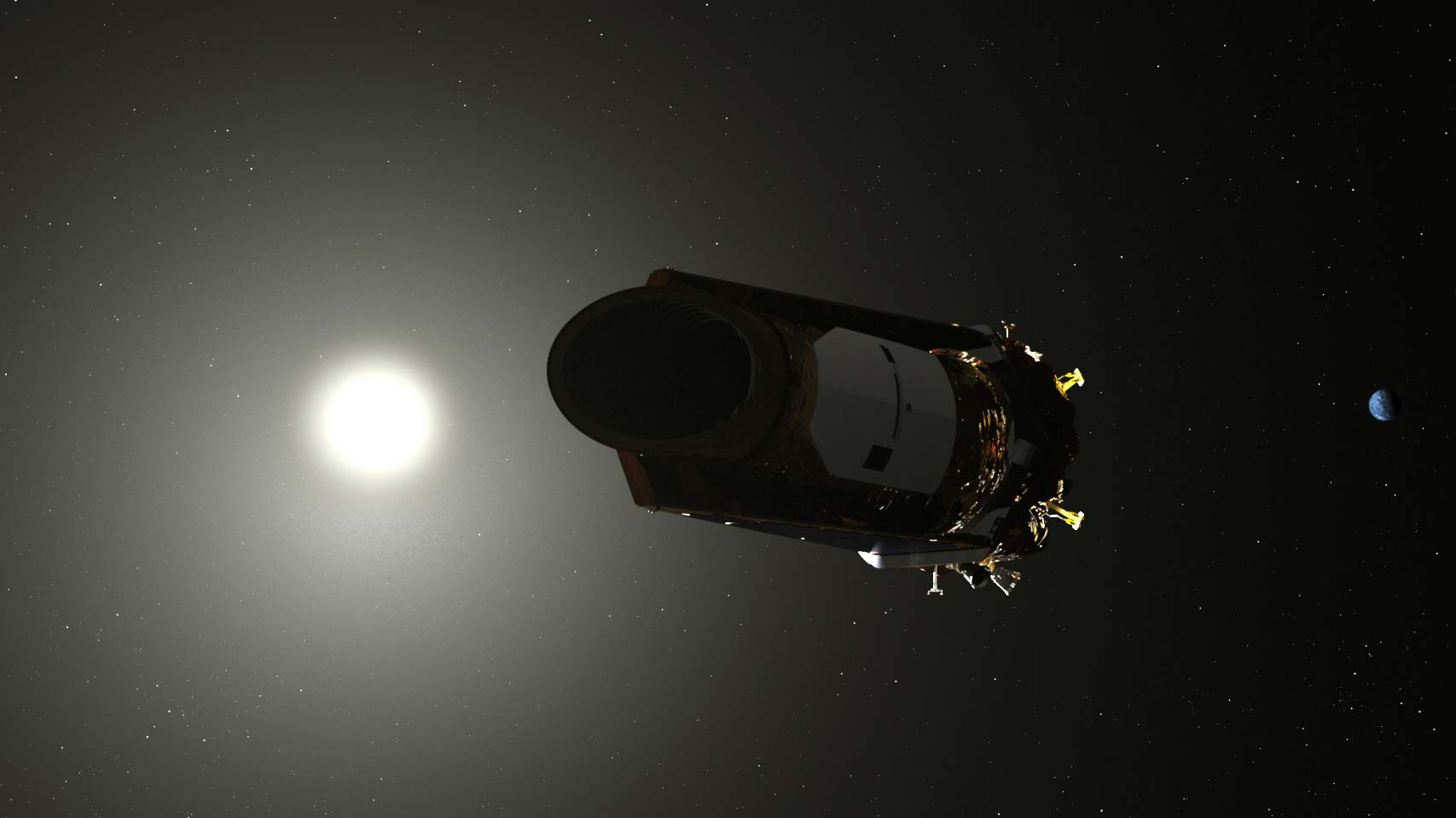 An artist's illustration of the Kepler telescope.
