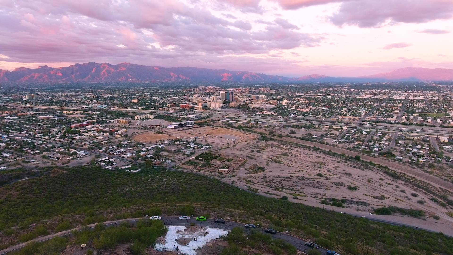 "A view of Downtown Tucson and the Catalina Mountains from ""A"" Mountain."