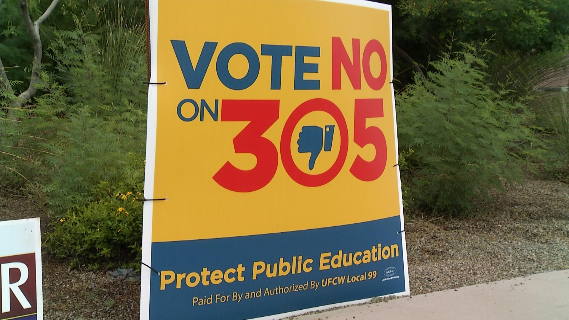 A campaign sign opposing Proposition 305 in Tucson on October 3, 2018.