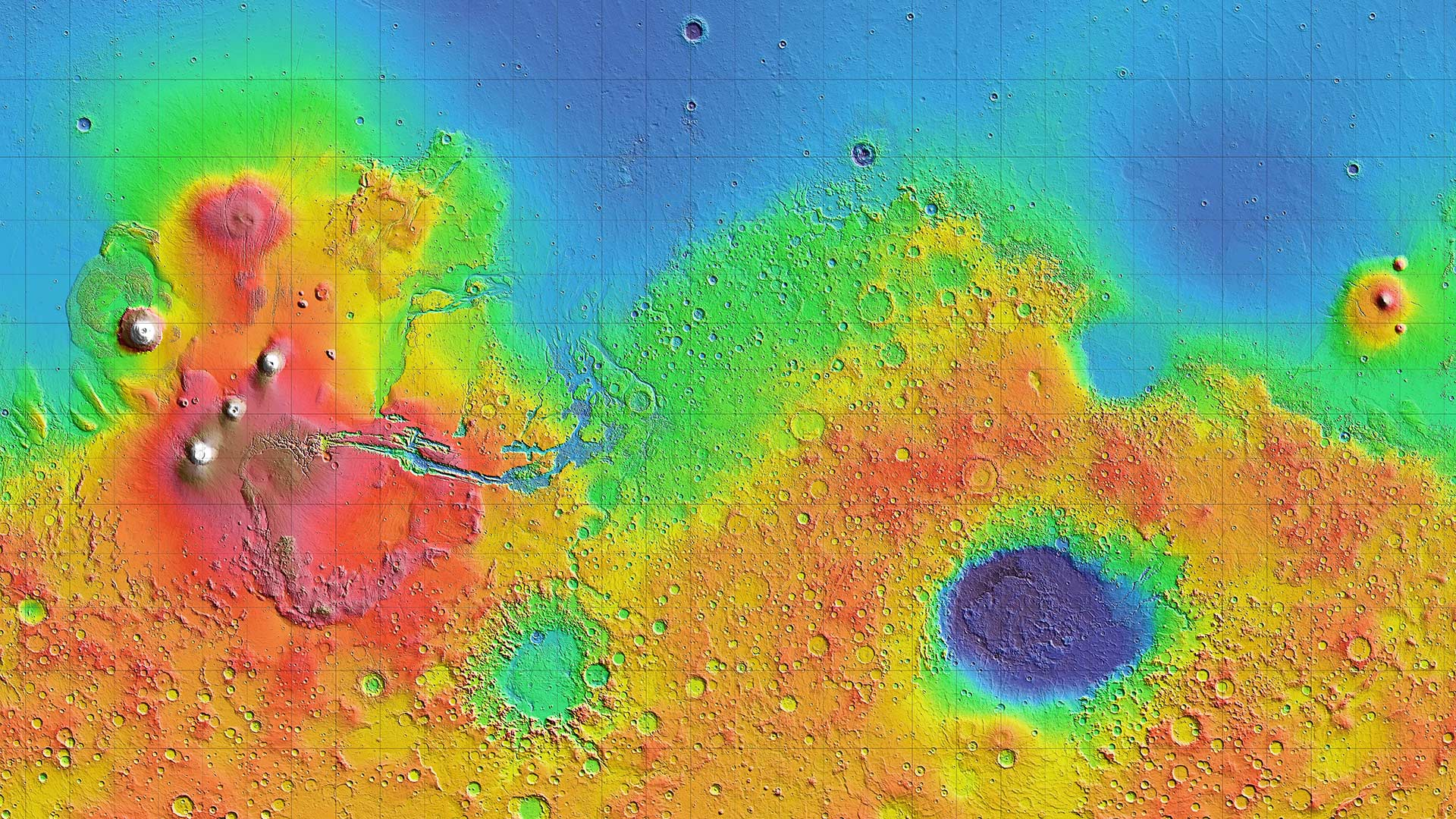 Portion of a NASA topographic shaded relief map of the surface of Mars created using the [Mars Orbiter Laser Altimeter](https://attic.gsfc.nasa.gov/mola/images.html).