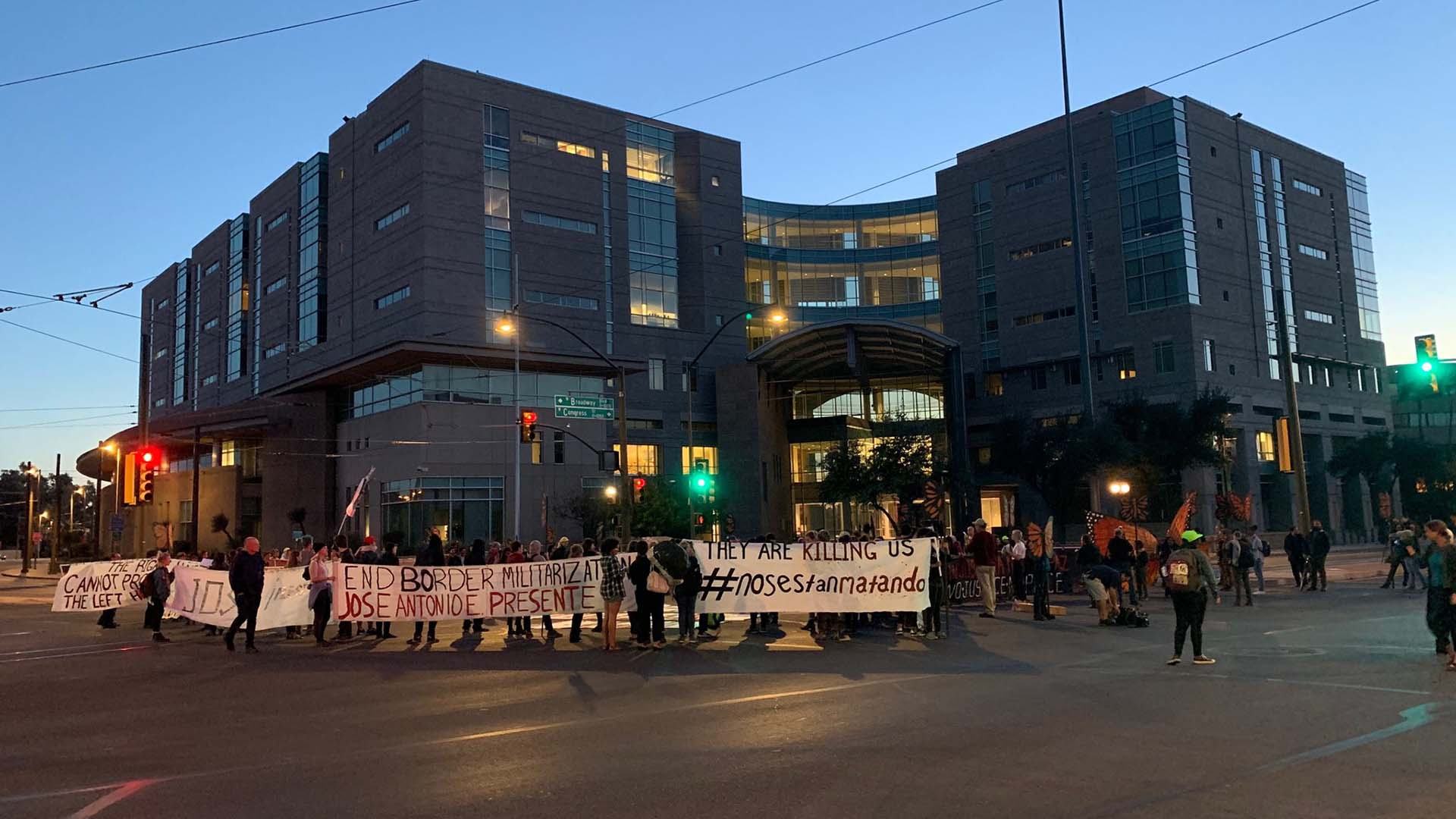 Demonstrators march in downtown Tucson after the November 21, 2018 acquittal of Border Patrol agent Lonnie Swartz on involuntary manslaughter charges in the cross-border shooting death of a 16 year old Mexican boy, Jose Antonio Elena Rodriguez.