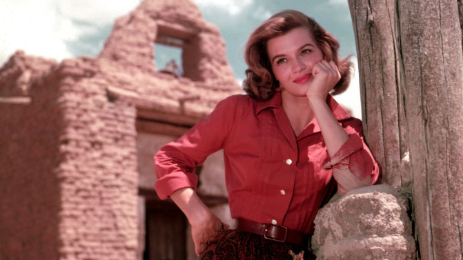 "Angie Dickinson at Old Tucson Studios during the filming of  ""Rio Bravo"" in 1959."