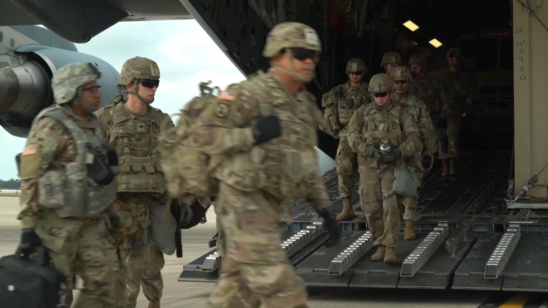 Soldiers arrive at Lackland Air Force Base in San Antonio on October 30, 2018 as part of Operation Faithful Patriot. The Trump Administration announced it will deploy more than 7,000 active duty troops to the southern border to assist federal agents.