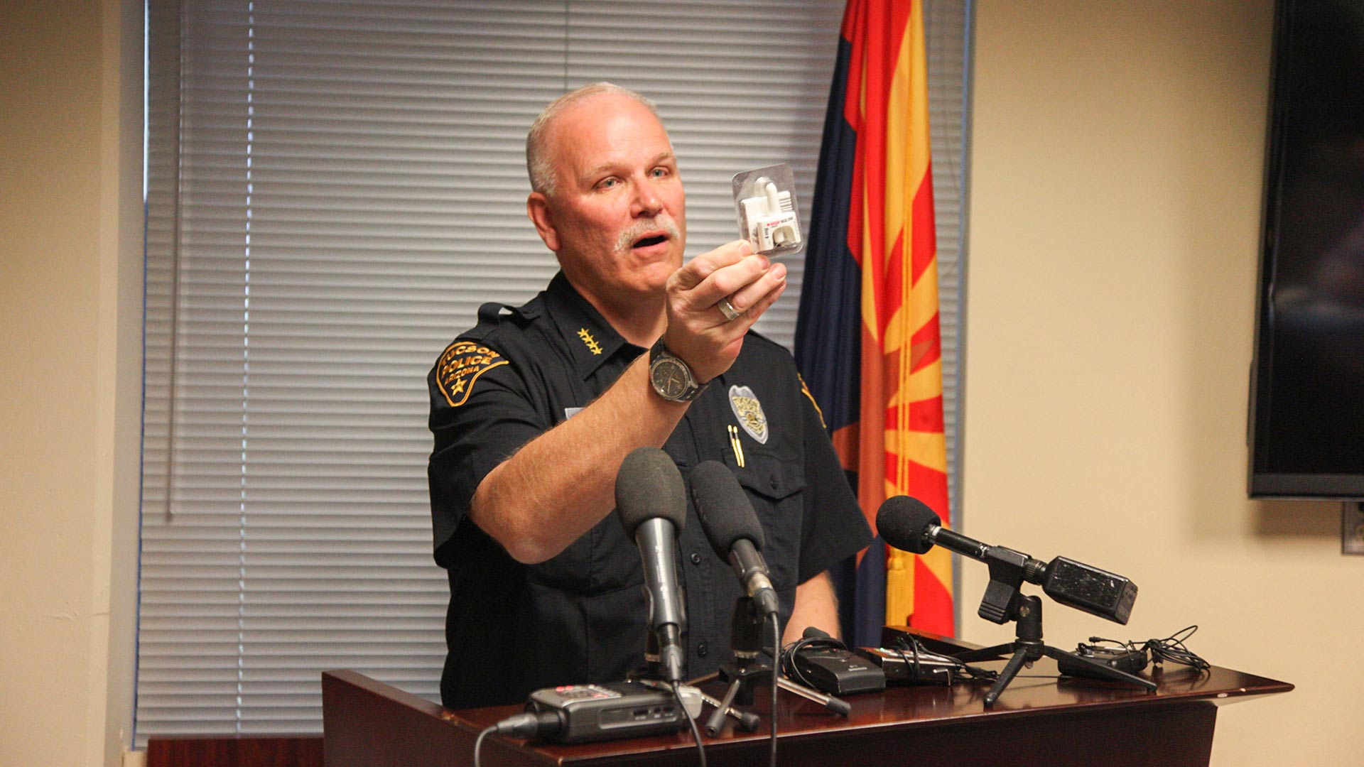 TPD Chief Chris Magnus holds up an anti-opioid nasal spray all officers in the department carry, Nov. 2, 2018