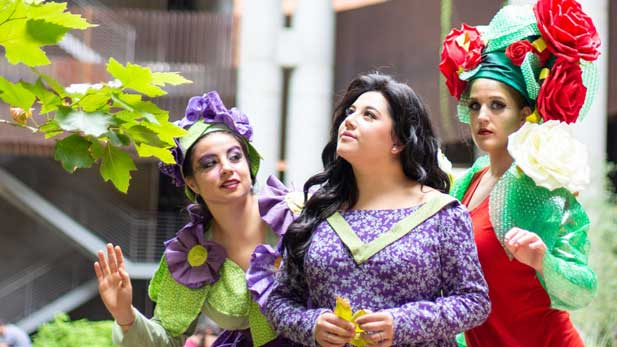 Characters from 'La hija de Rappaccini' presented by University of Arizona Voice and Opera Theater.