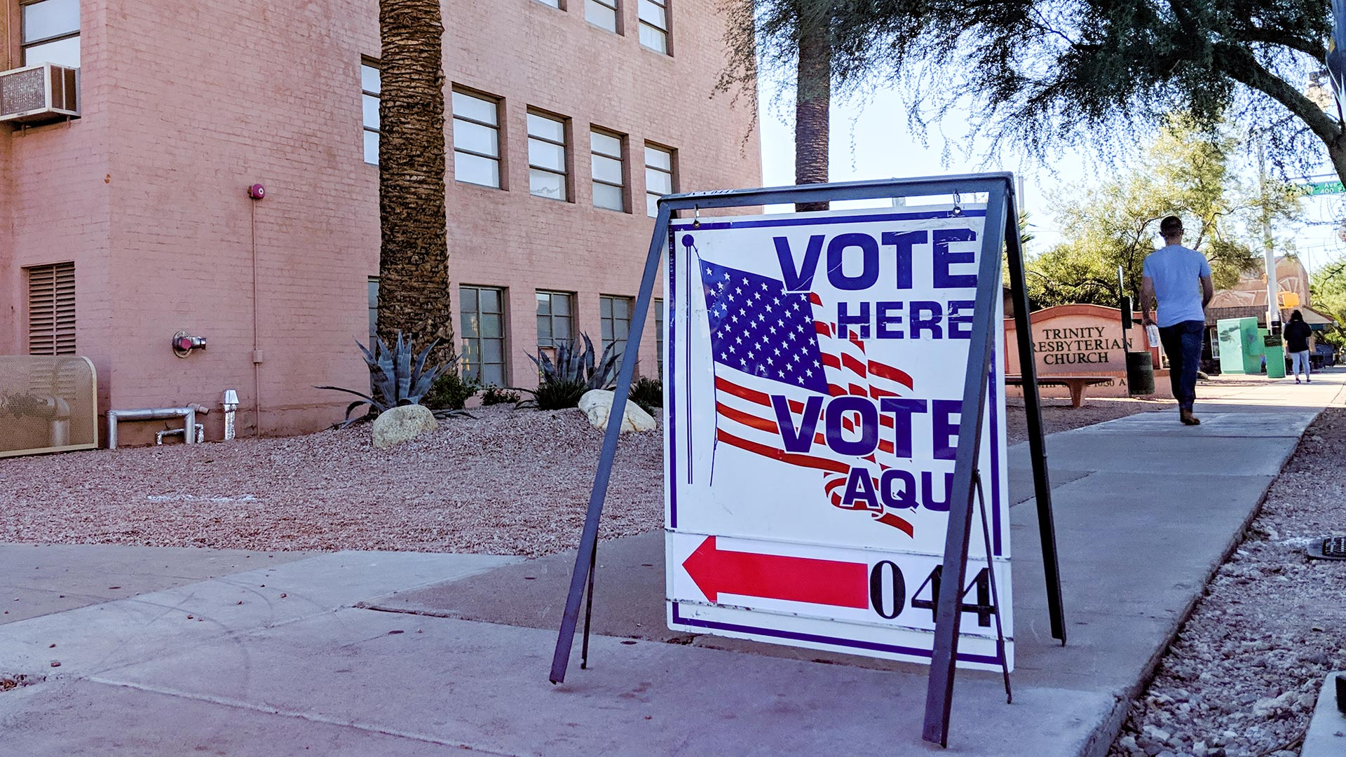 A sign indicating a polling place near Fourth Avenue in Tucson, Election Day, Nov. 7, 2018.