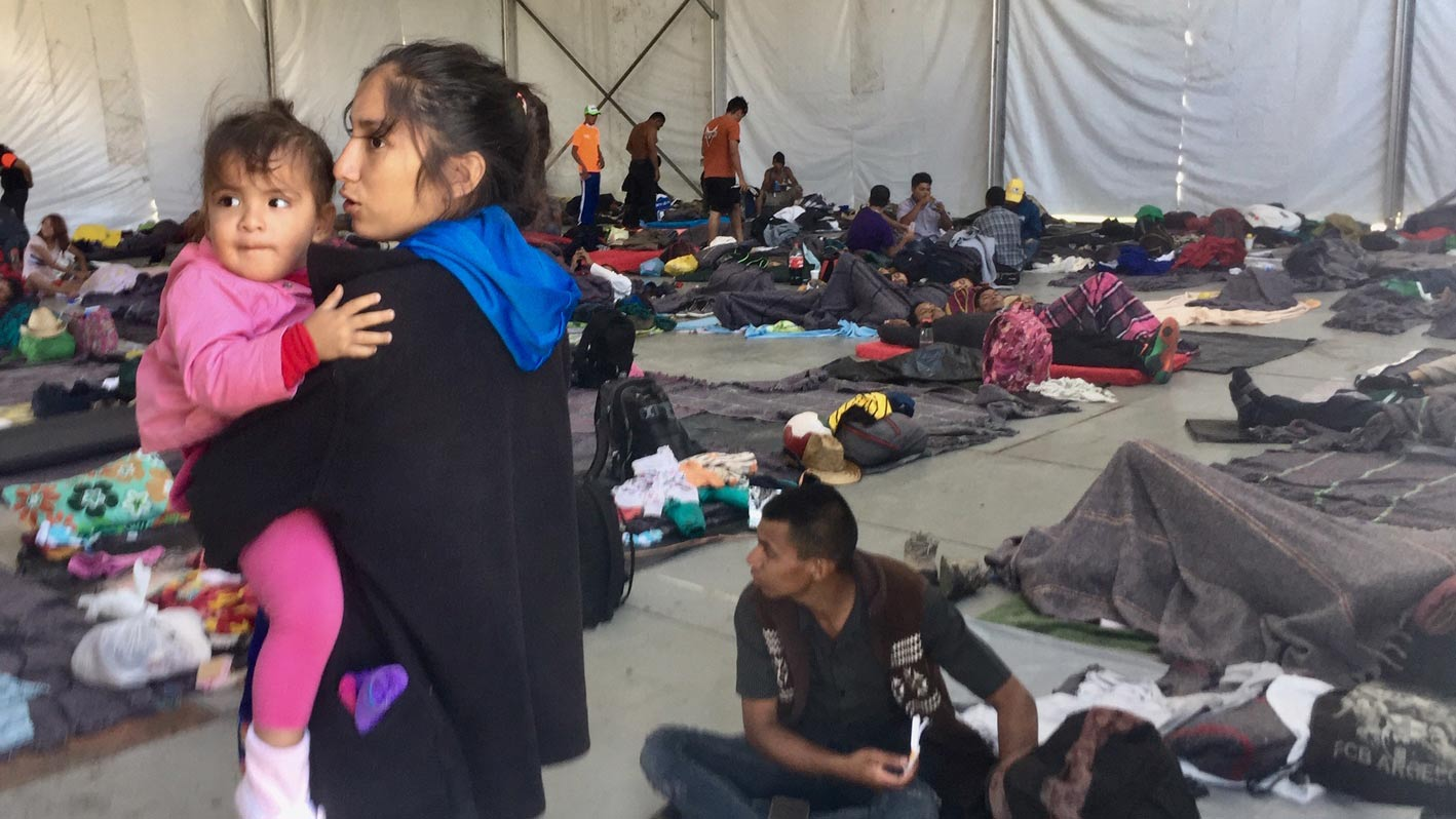 People traveling with the migrant caravan, in a shelter in Mexico City.