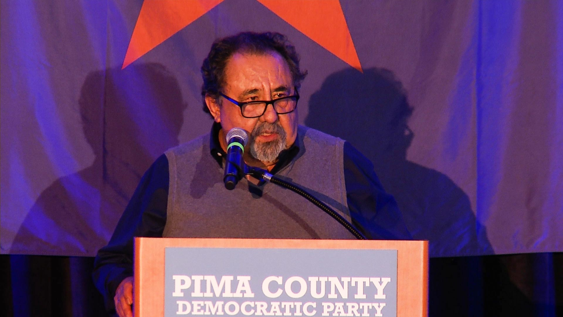 U.S. Rep. Raul Grijalva speaks the the Pima County Democratic Party election night event, Nov. 6, 2018.