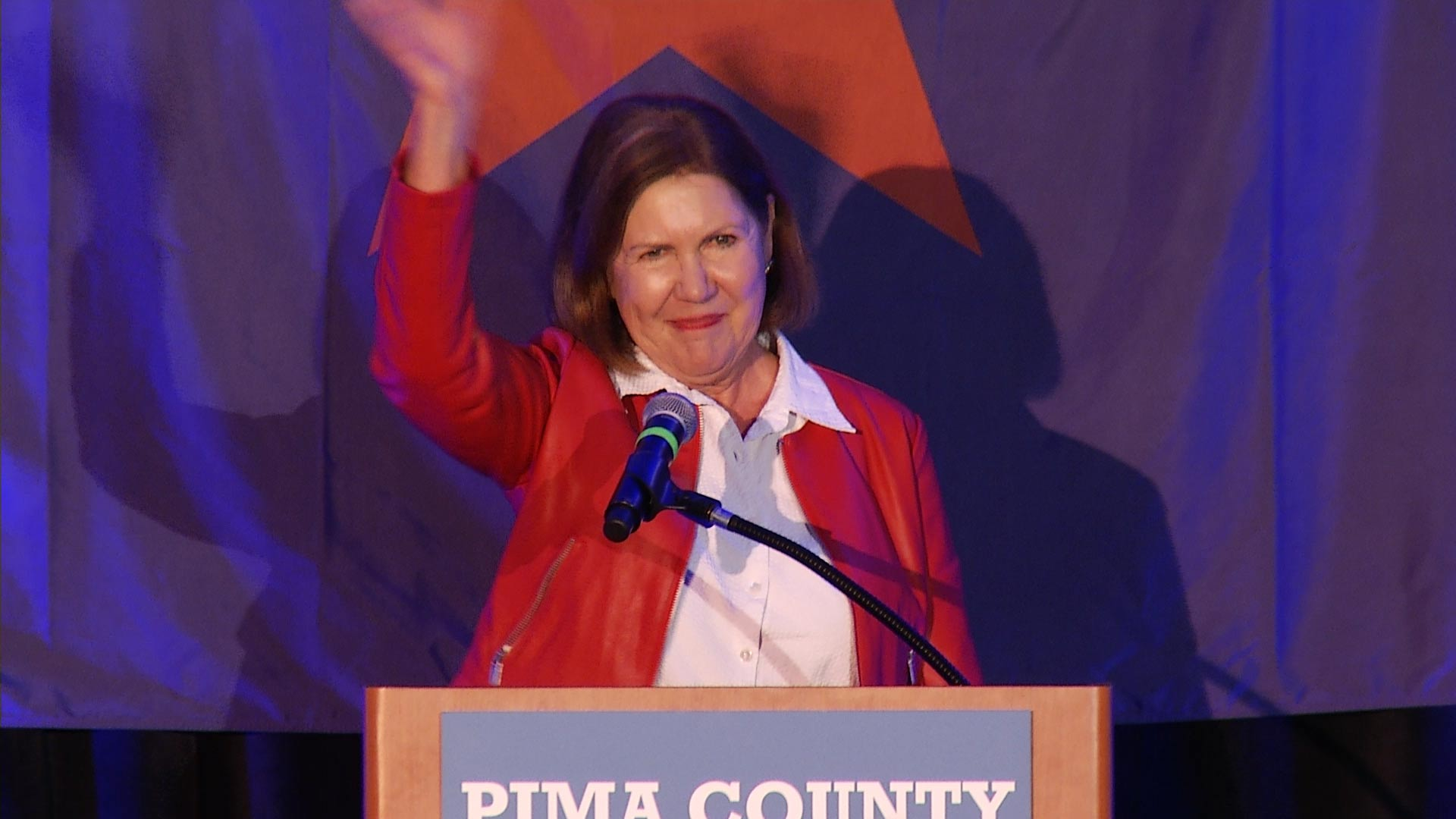 Ann Kirkpatrick speaks at the Democratic watch party in Pima County, Nov. 6, 2018.